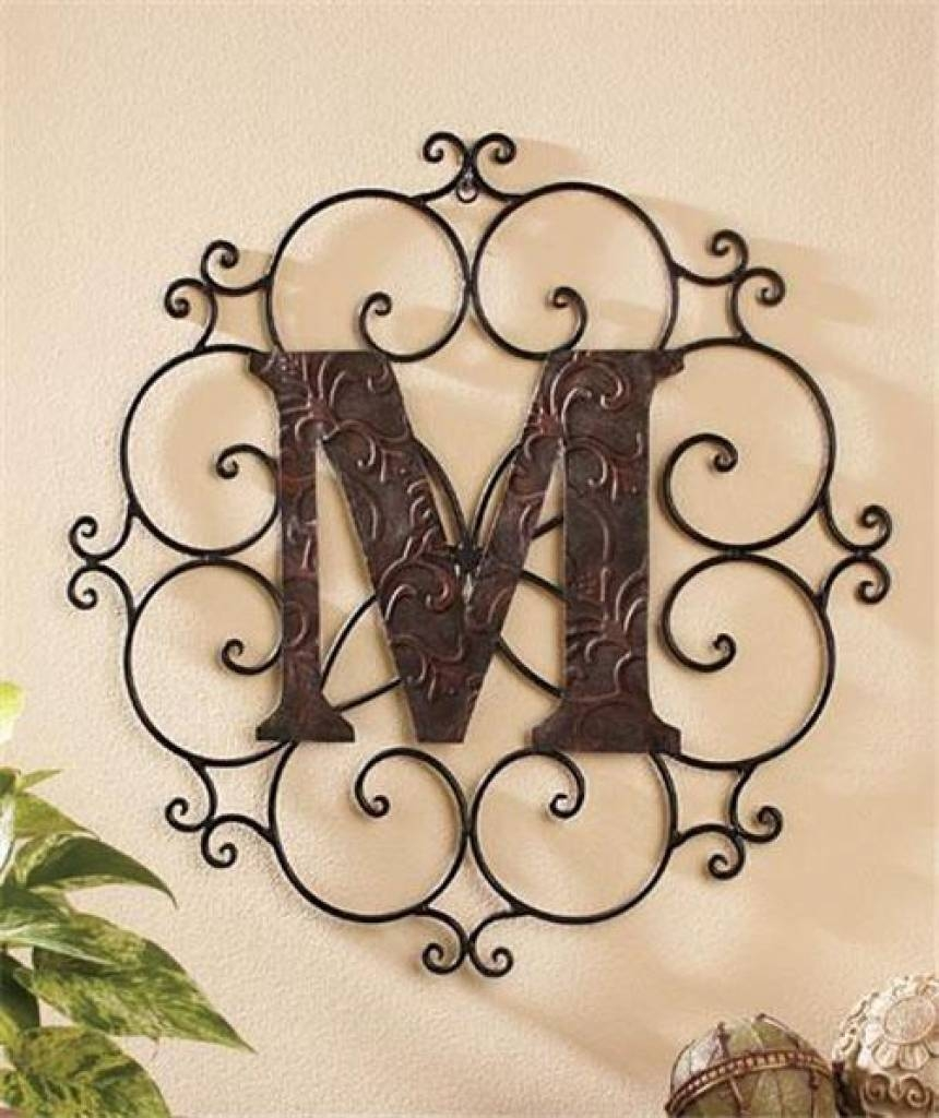 Hanging Letters Wall Decor Monogram Bronze Look Metal Wall Art Inside Most Up To Date Monogram Metal Wall Art (View 11 of 20)