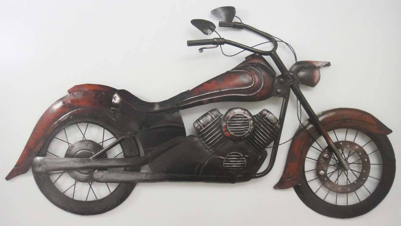 Harley Davidson Bike Repurposed Steel Wall Art Motorcycle Garage With Most Recently Released Motorcycle Metal Wall Art (Gallery 3 of 20)