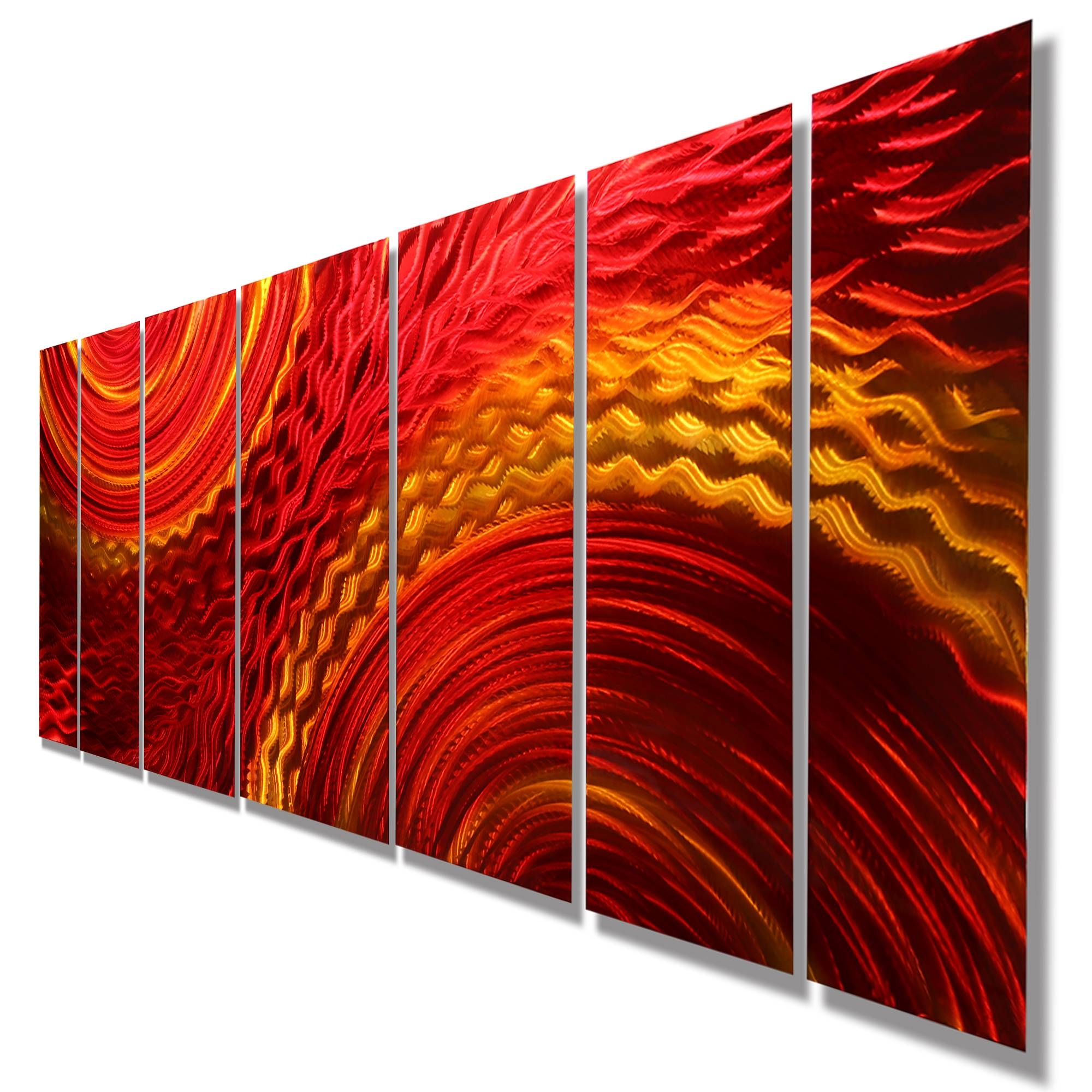 Harvest Moods Xl – Contemporary Red/gold Abstract Metal Hand In Most Recent Orange Metal Wall Art (View 9 of 20)