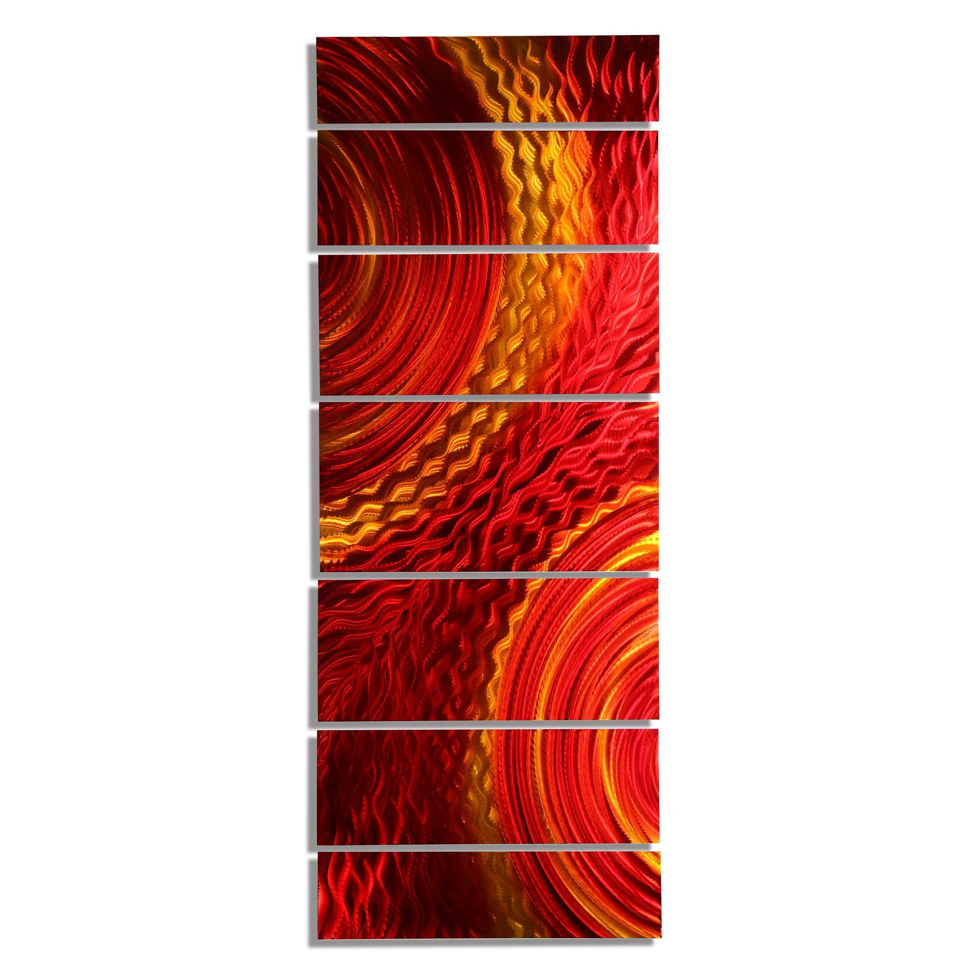 Harvest Moods Xl – Contemporary Red/gold Abstract Metal Hand Inside Most Recently Released Vertical Metal Wall Art (View 4 of 20)