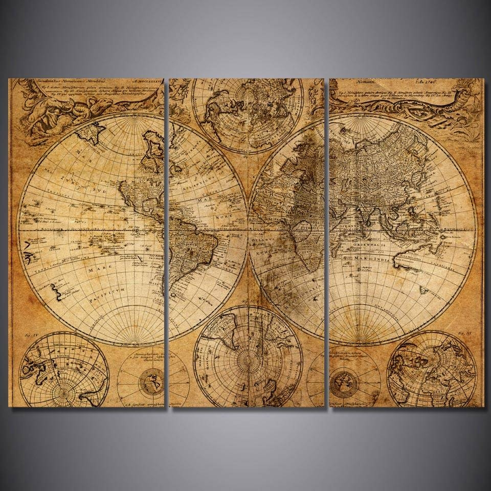 Hd Printed 3 Piece Canvas Art World Map Picture Home Decor Old Map With Most Recent Old Map Wall Art (View 15 of 20)