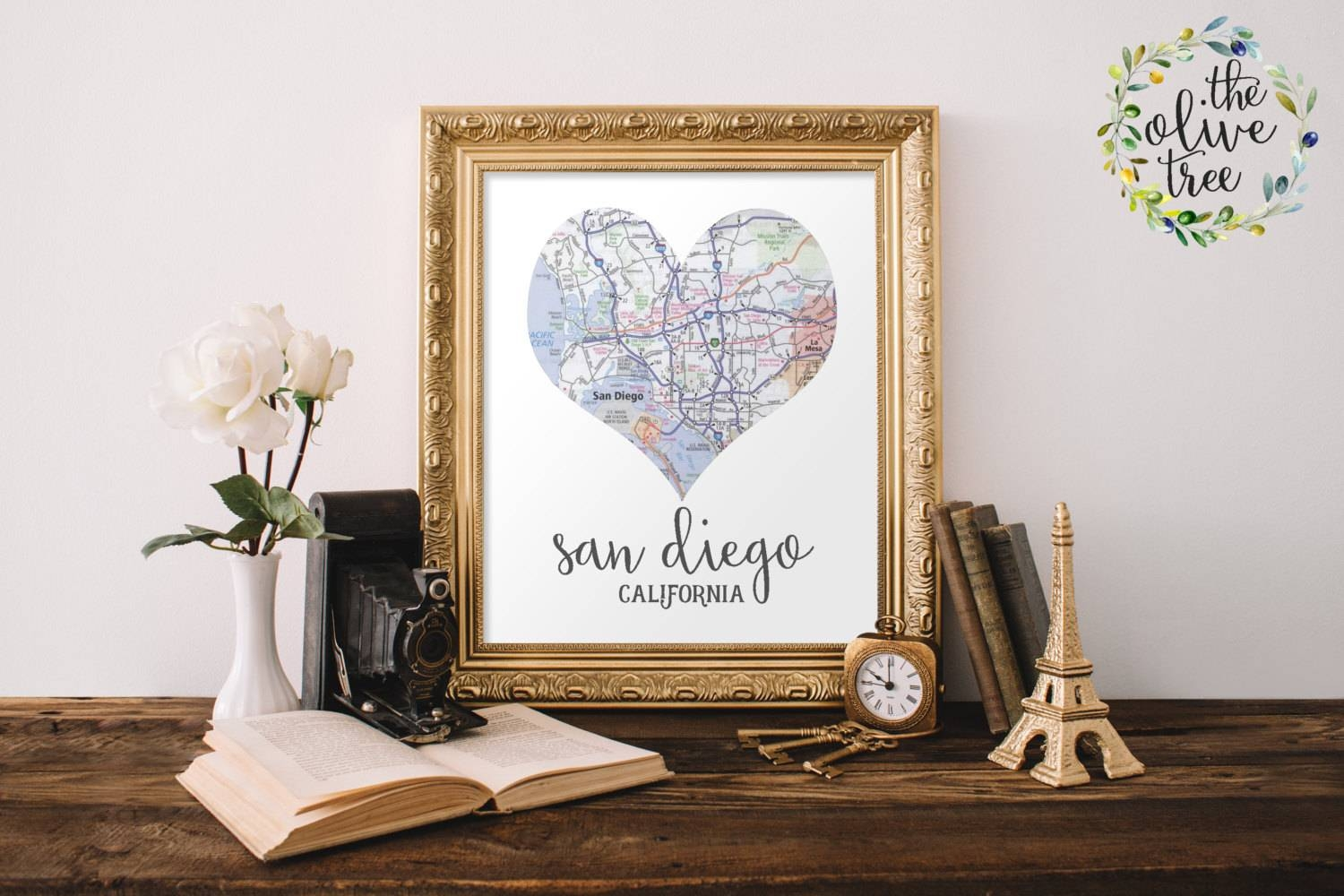 Heart Map Print Printable Map Wall Art Decor Instant Intended For Newest San Diego Map Wall Art (View 12 of 20)