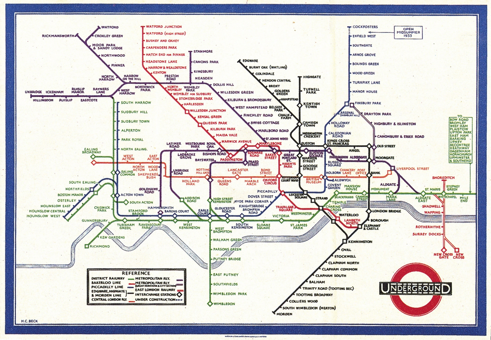Henry Charles Beck, Material Culture And The London Tube Map Of Inside Most Current London Tube Map Wall Art (View 8 of 20)