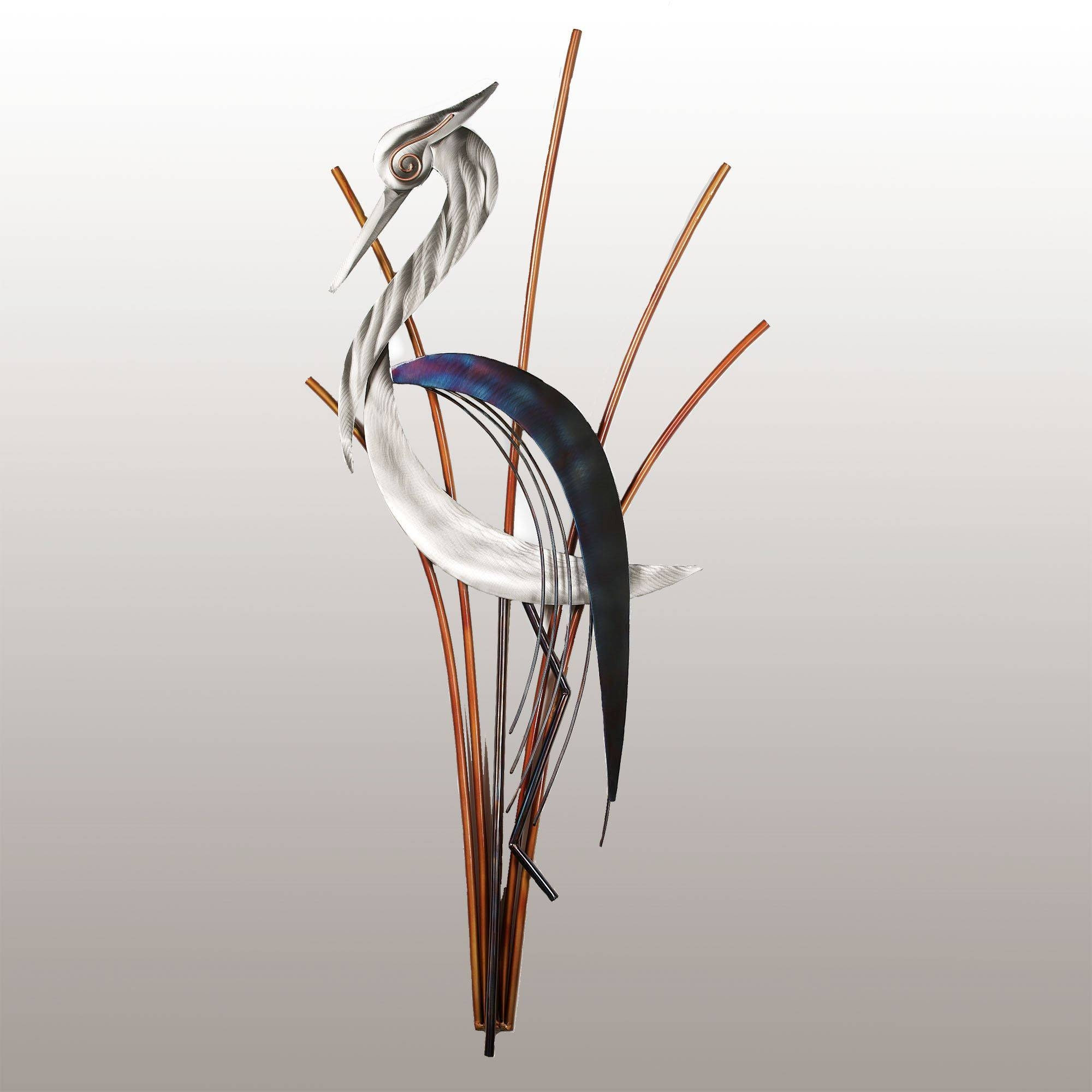 Heron Metal Wall Sculptures Pertaining To Best And Newest Heron Metal Wall Art (Gallery 2 of 20)