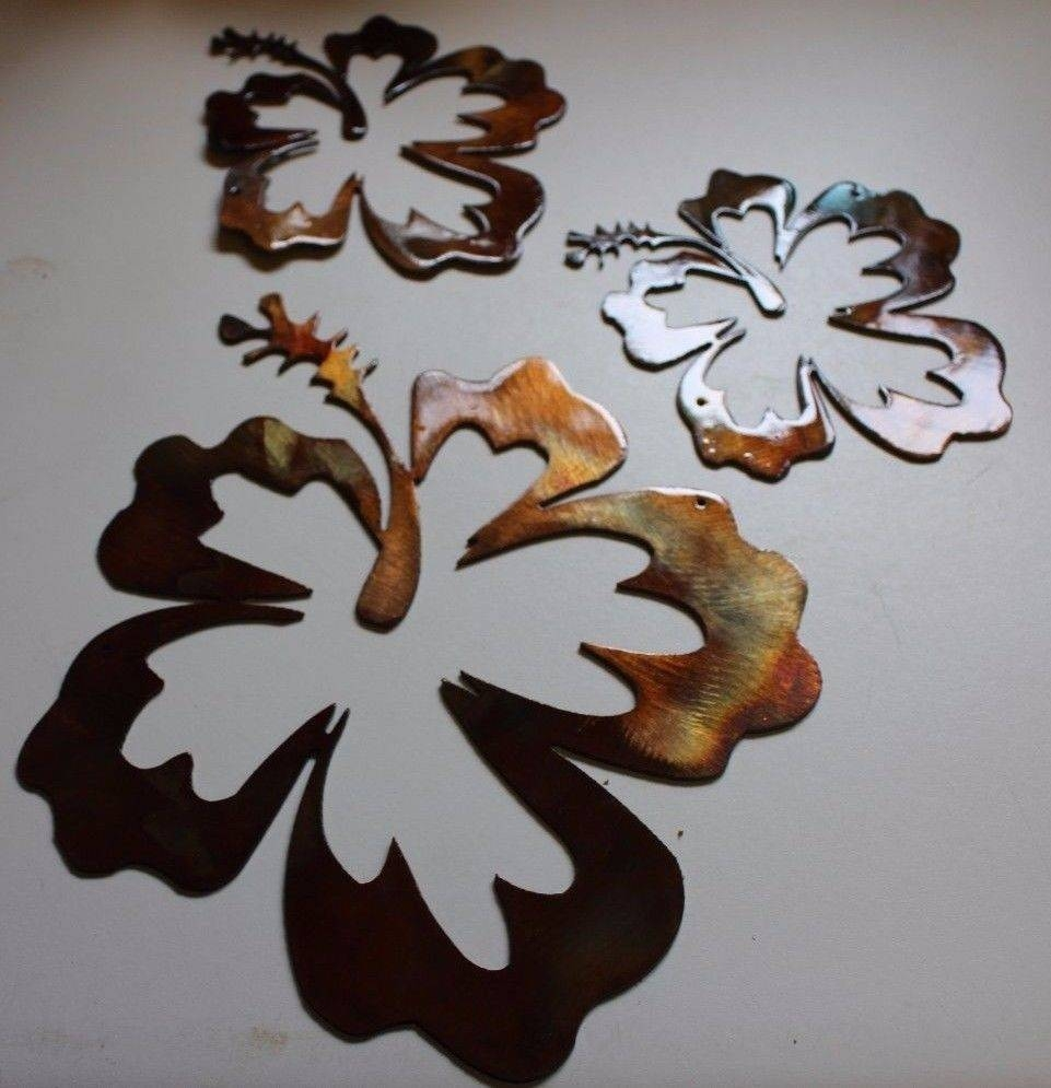 Hibiscus Flower Tropical 3 Piece Set/trio Pertaining To Most Popular Hawaiian Metal Wall Art (View 3 of 20)