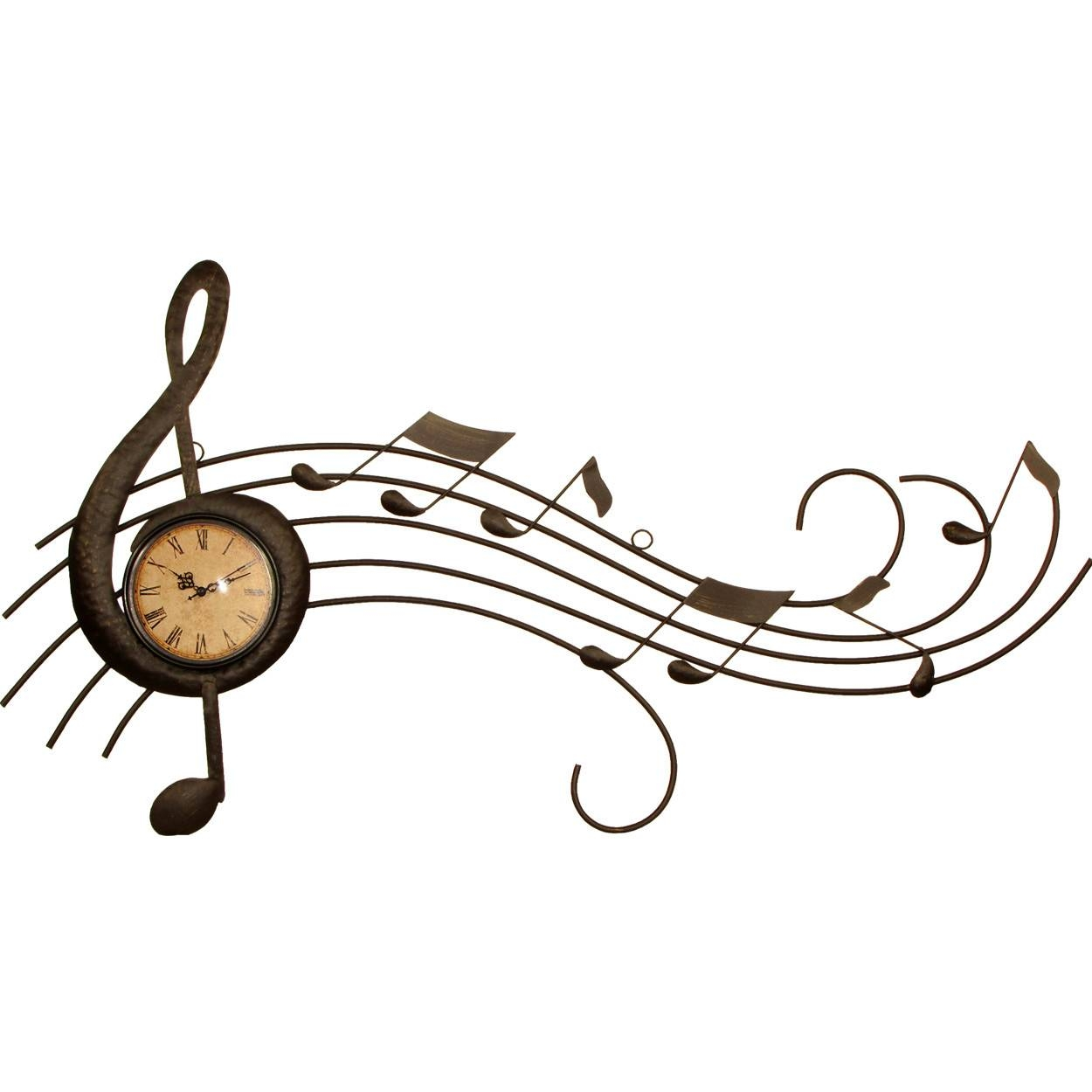 House Additions Metal Art Music Wall Clock House Additions Metal In Most Popular Musical Instruments Metal Wall Art (View 6 of 20)