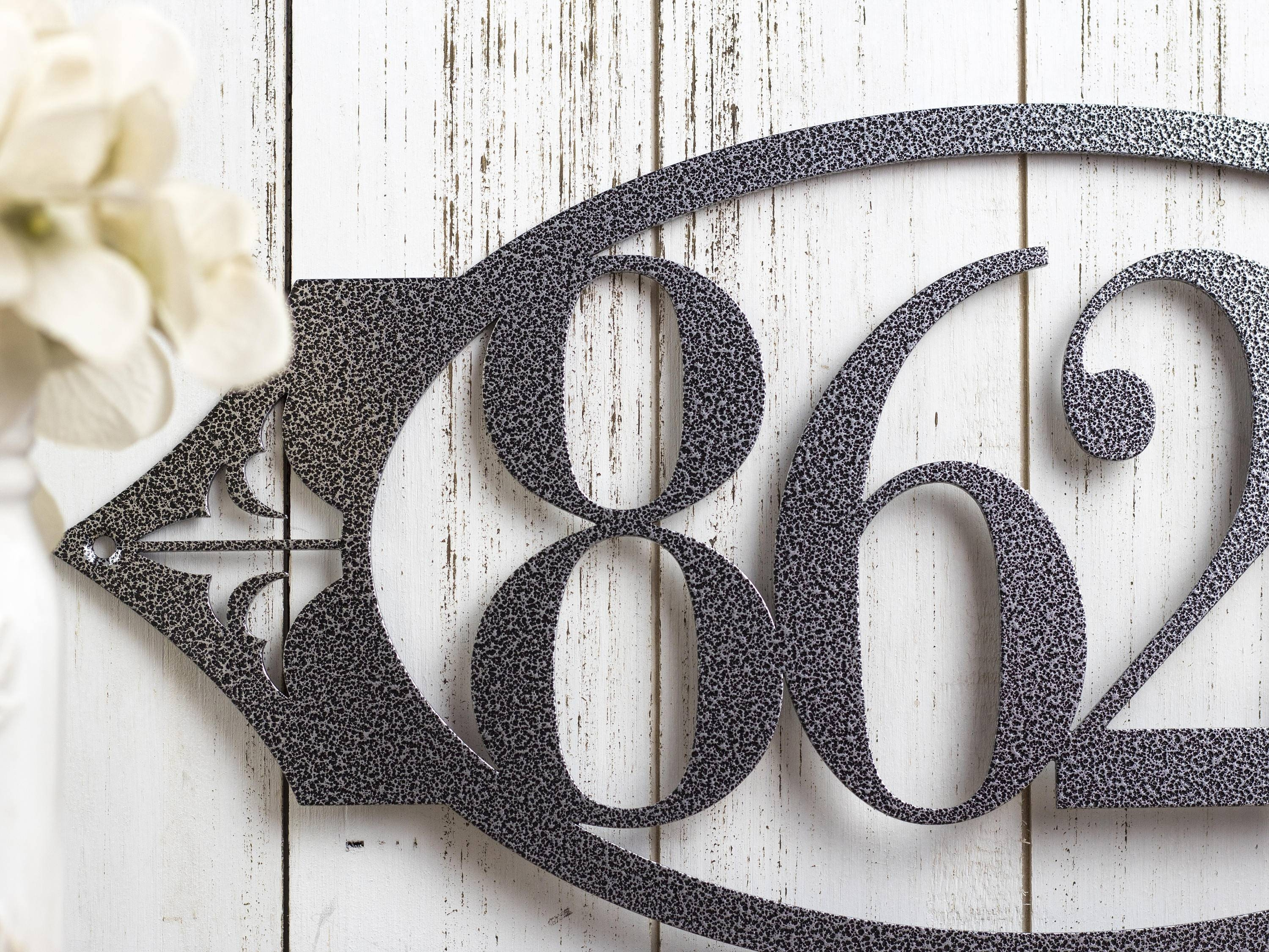 House Number Sign | Metal Sign | Metal Wall Art | Outdoor Sign Intended For Newest Metal Wall Art For Outdoors (Gallery 19 of 20)