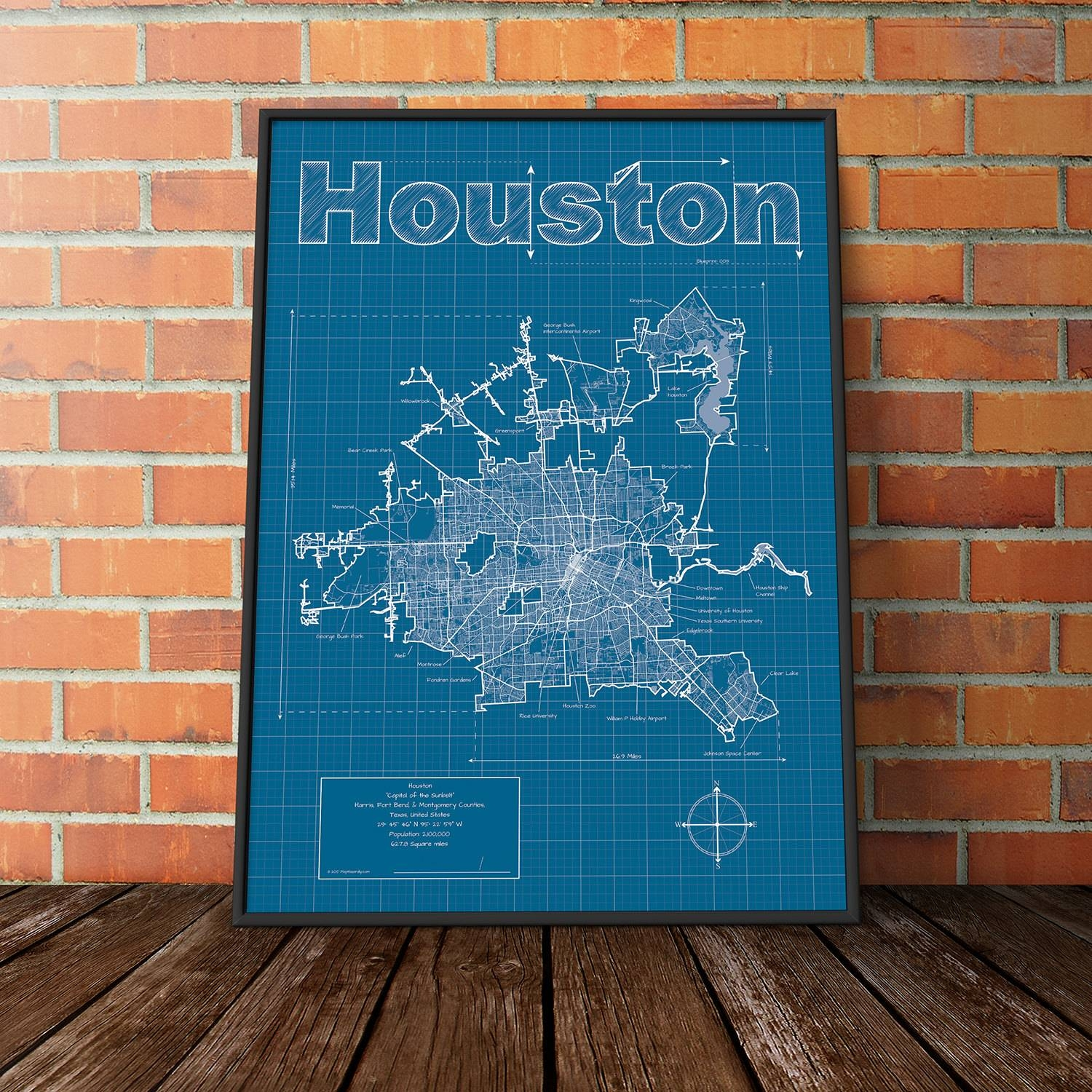 Houston Map Art Intended For Best And Newest Houston Map Wall Art (Gallery 1 of 20)