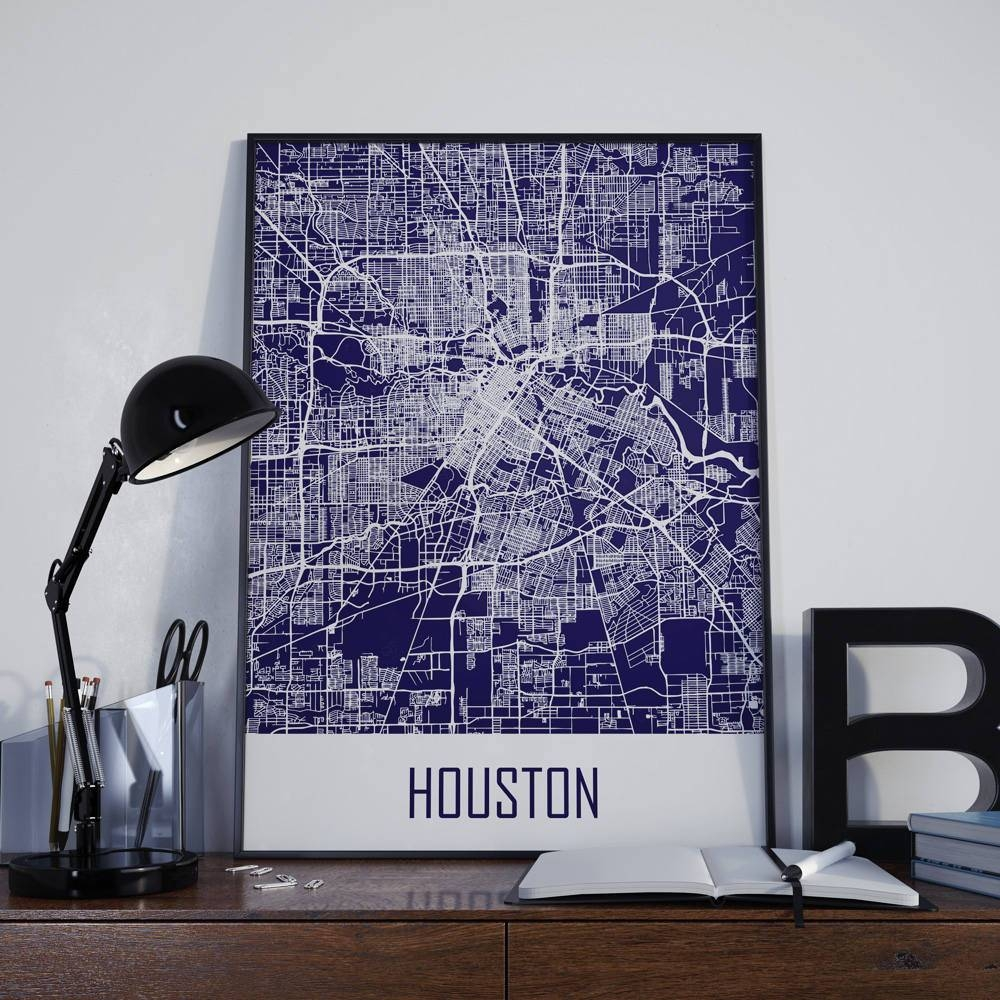 Houston Map Houston Travel Map Houston Street Map Houston Map Throughout Most Recent Houston Map Wall Art (Gallery 3 of 20)