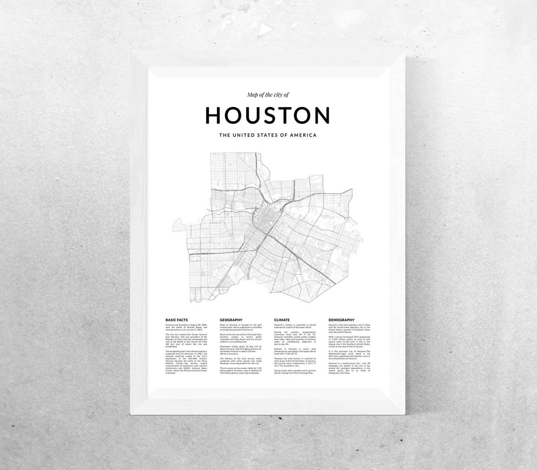 Houston Map Print Map Wall Art Houston Texas Houston Map Throughout Most Current Houston Map Wall Art (View 4 of 20)