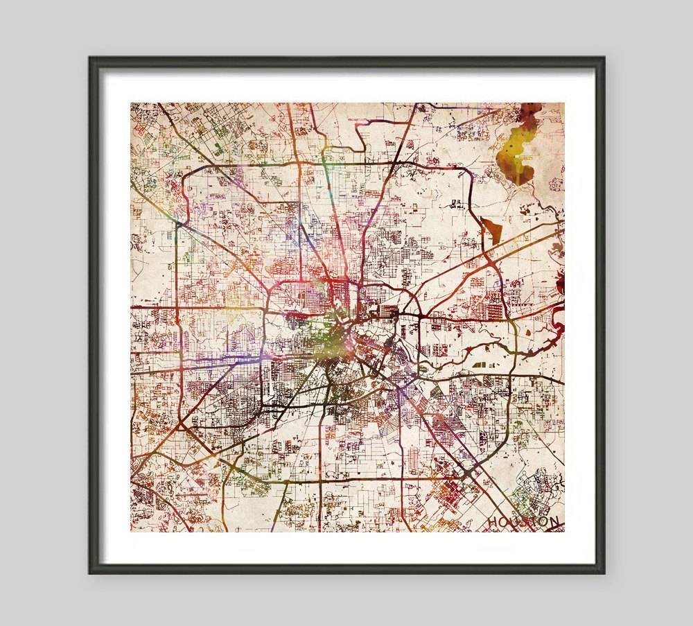Houston Map Texas Watercolor Painting Old Paper Giclee Inside Most Popular Texas Map Wall Art (View 12 of 20)