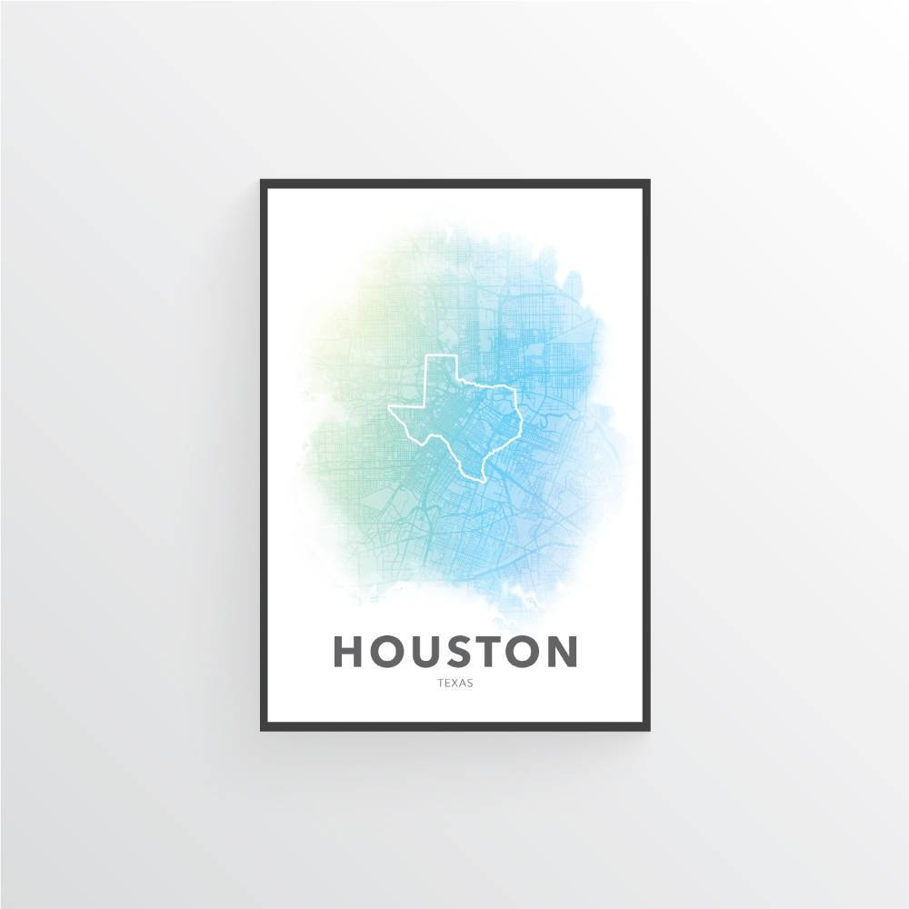 Houston Poster Houston Map Poster Houston Print Houston Within Current Houston Map Wall Art (View 7 of 20)