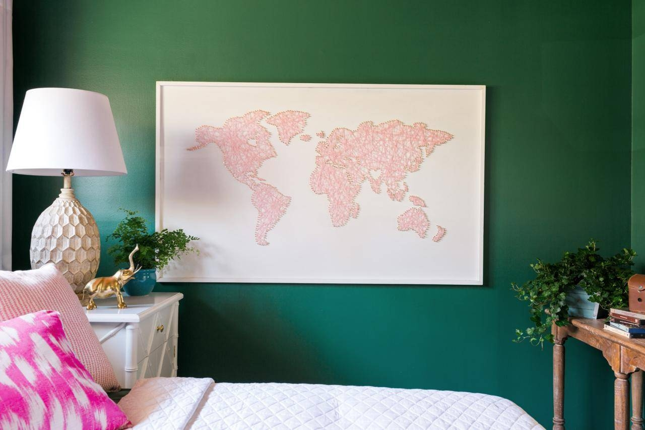 How To Make A Large Scale World Map String Art | Hgtv Inside Best And Newest String Map Wall Art (Gallery 20 of 20)