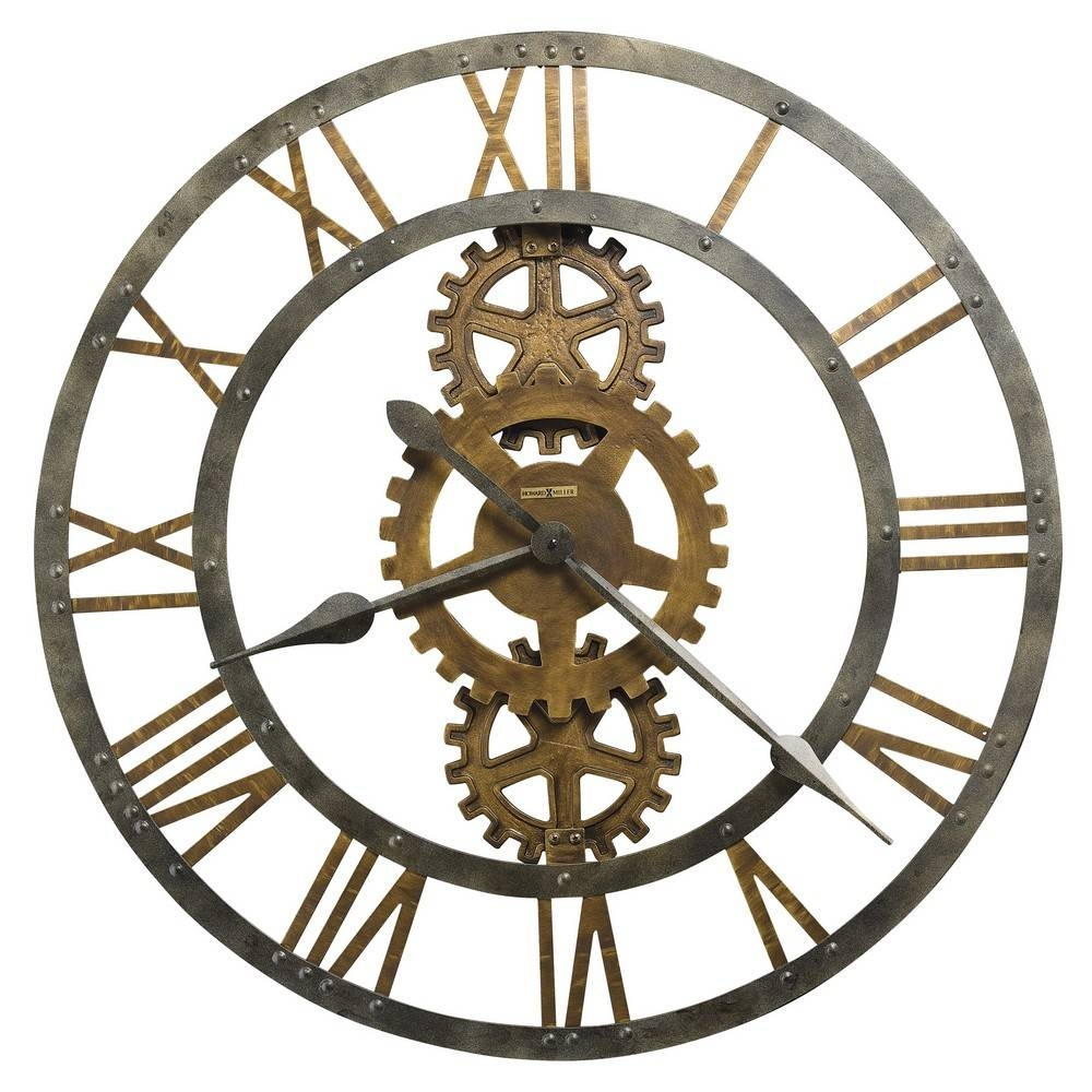 Howard Miller Crosby Large Metal Gear Wall Clock 625517 Throughout Current Large Metal Wall Art Clocks (Gallery 6 of 20)