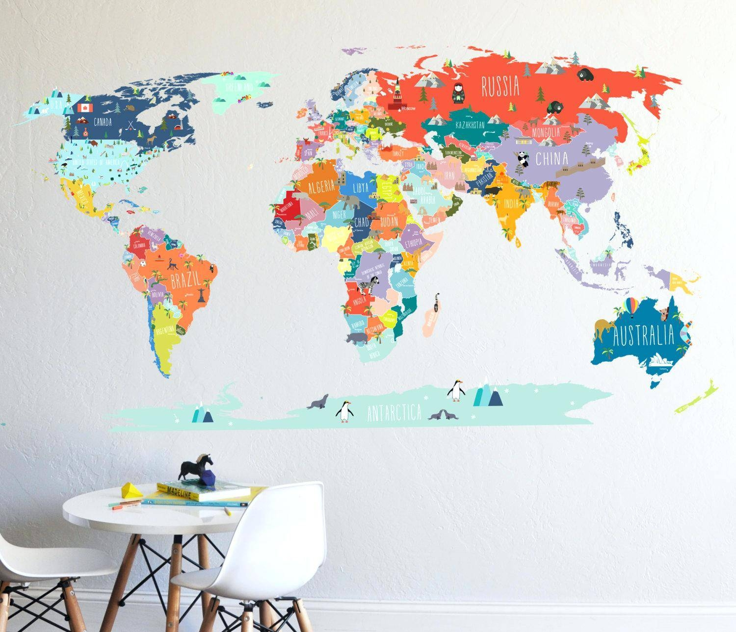 Hungry Caterpillar Wall Decals World Map Wallpaper Colorful Wall Throughout 2018 World Map Wall Art For Kids (Gallery 18 of 20)