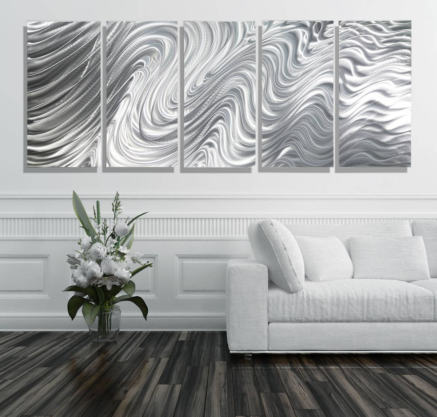 Hypnotic Sands 5P Xl – Extra Large 5 Panel Silver Modern Intended For Current White Metal Wall Art (View 5 of 20)