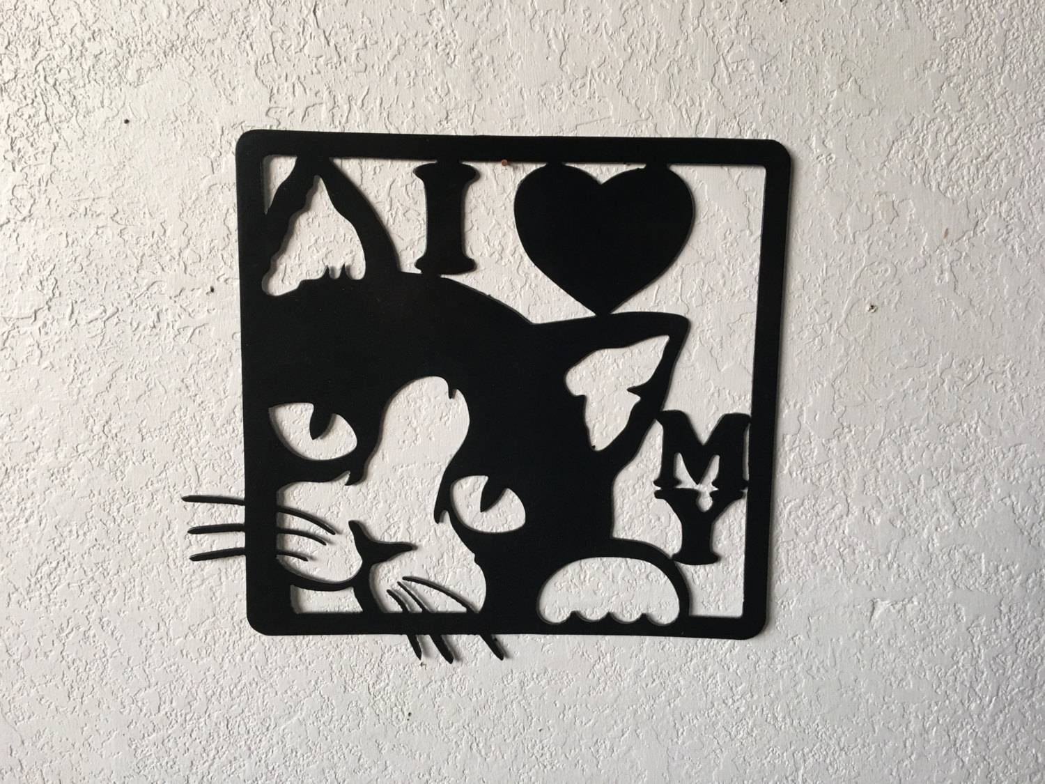 I Love My Cat Metal Cat Sign Cat Kitty Wall Art Hanging Cat For Most Recent Cat Metal Wall Art (View 13 of 20)