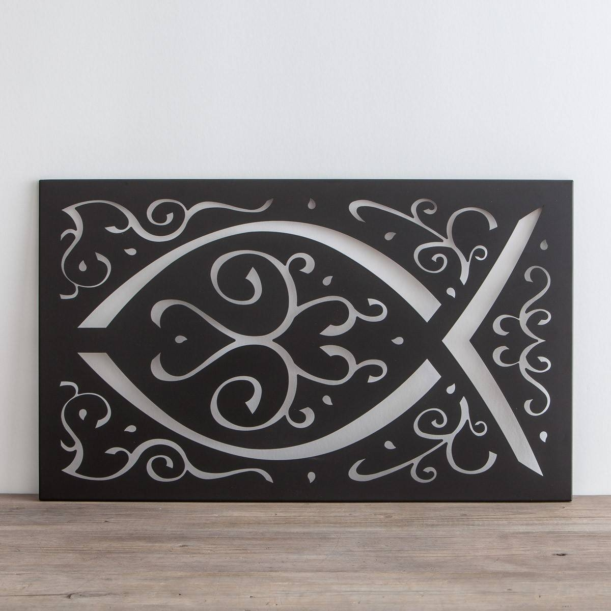 Ichthys – Metal Wall Art | Dayspring With Regard To Best And Newest Black And White Metal Wall Art (View 6 of 20)