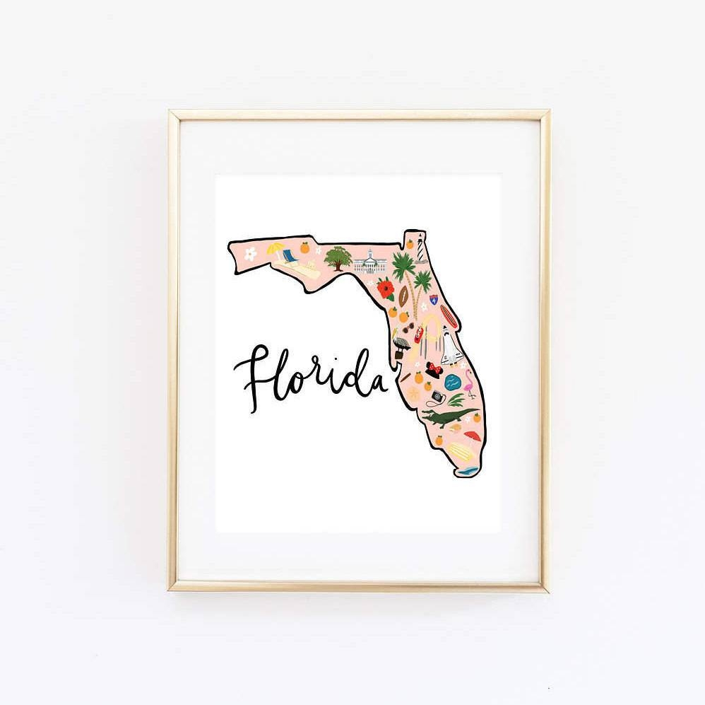 Illustrated Florida Art Print Florida Map Print Florida Pertaining To Most Recently Released Florida Map Wall Art (View 7 of 20)