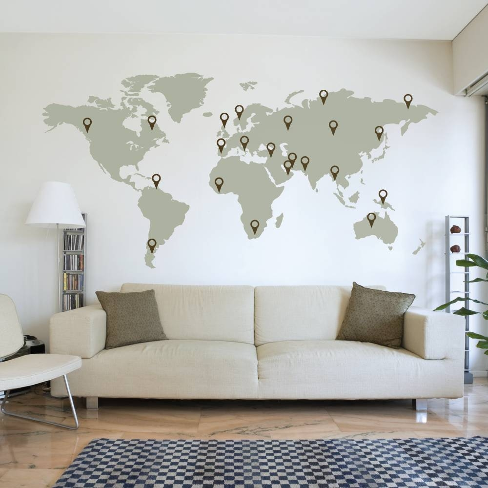 Impressive Design Ideas Sticker Wall Art With World Map Wallboss Pertaining To Current Custom Map Wall Art (View 19 of 20)