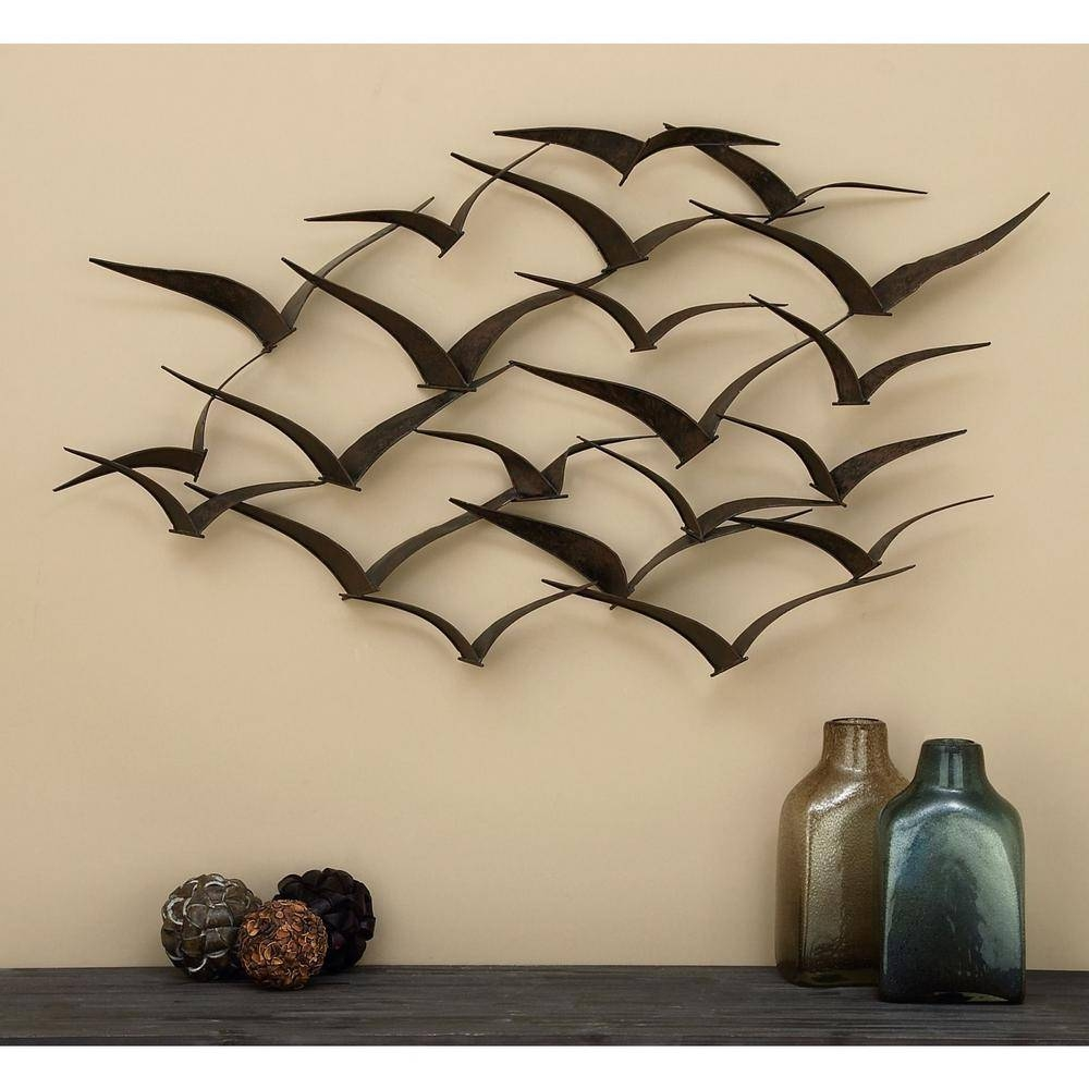 In Flight 47 In. Flock Of Birds Metal Wall Sculpture 80954 – The In Most Up To Date Birds Metal Wall Art (Gallery 16 of 20)