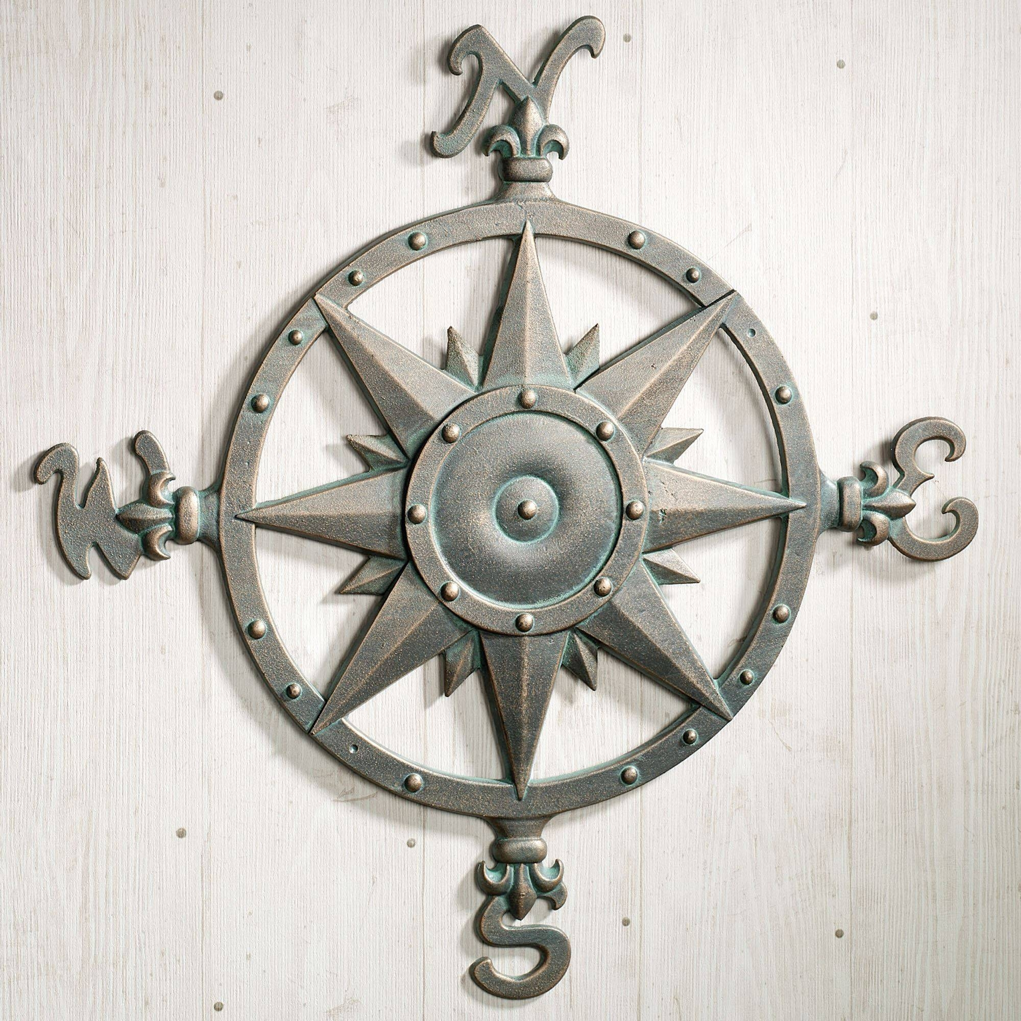 Indoor Outdoor Nautical Compass Metal Wall Art Regarding 2017 Large Outdoor Metal Wall Art (Gallery 7 of 20)