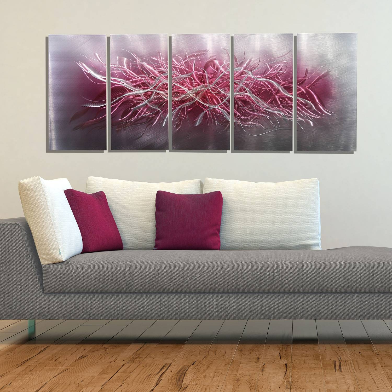 Inflorescence – Large Unique Silver & Pink Modern Metal Wall Art Intended For Newest Pink Metal Wall Art (View 2 of 20)
