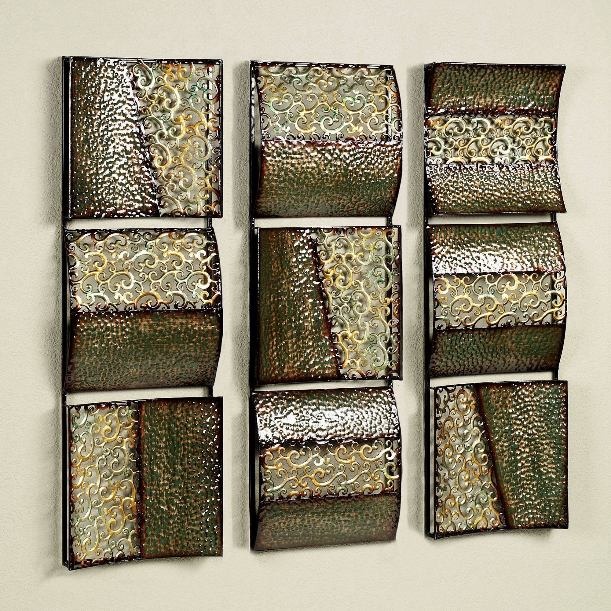 Intermission In Green Metal Wall Art Panel Set Regarding 2018 Metal Wall Art Panels (Gallery 1 of 20)