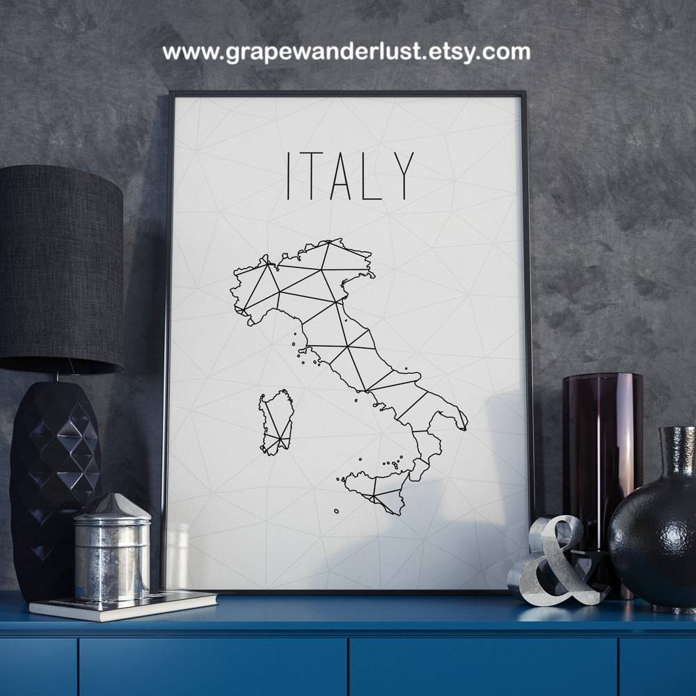 Italy Map Italy Wall Art Italy Print Map Decor Geometric Art With Regard To Most Recent City Prints Map Wall Art (View 10 of 20)