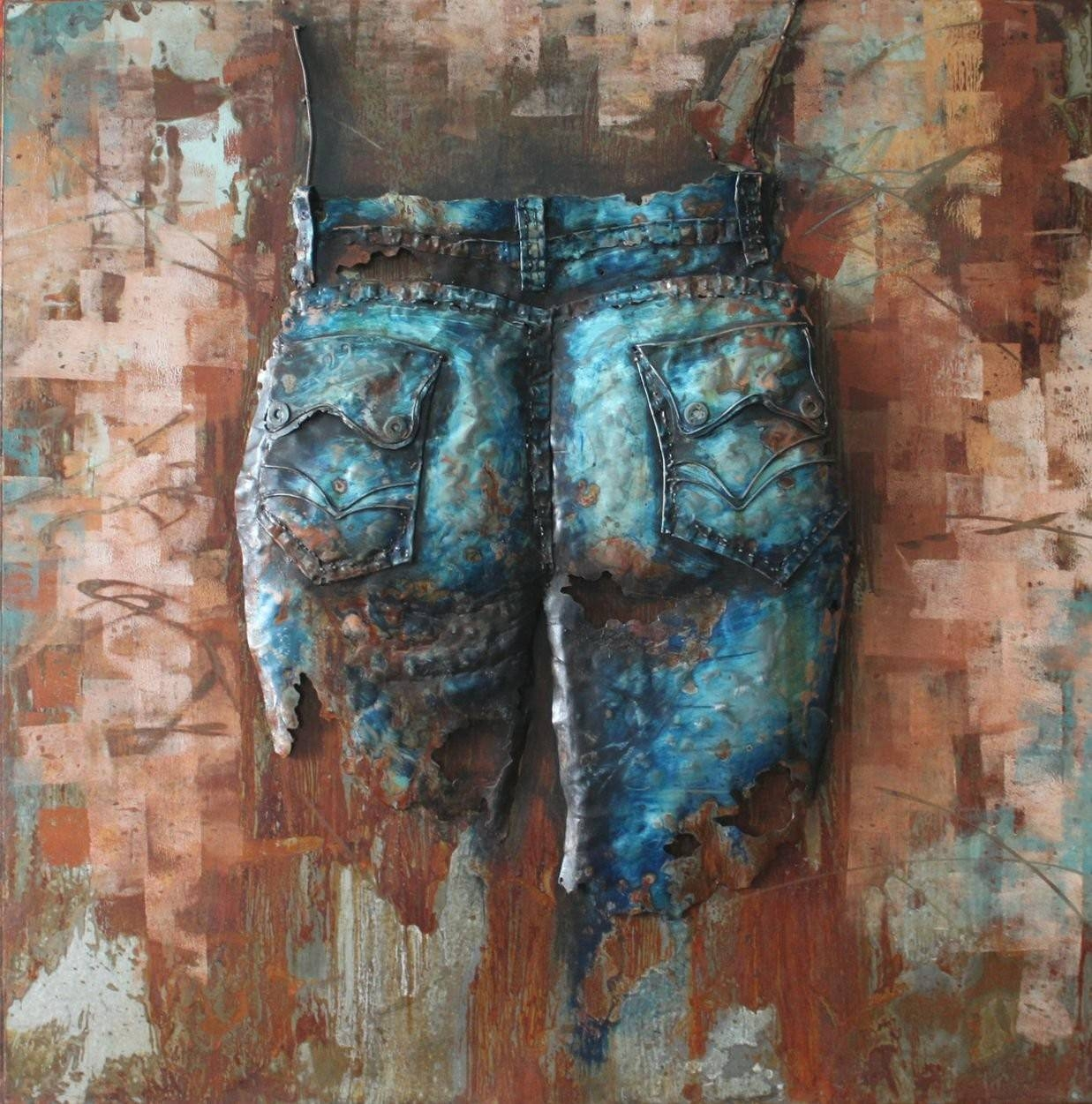 Jeans Cowgirl(Back) – 3D Metal Wall Art – Metal Wall Art Within Most Current Painted Metal Wall Art (View 10 of 20)