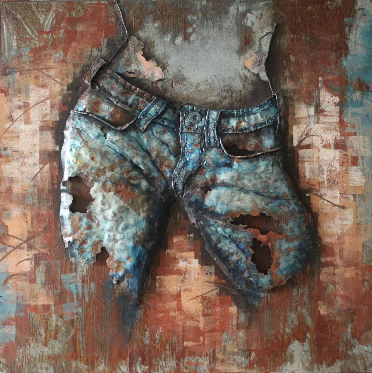 Jeans Cowgirl(Front) - 3D Metal Wall Art for Most Recently Released Painted Metal Wall Art