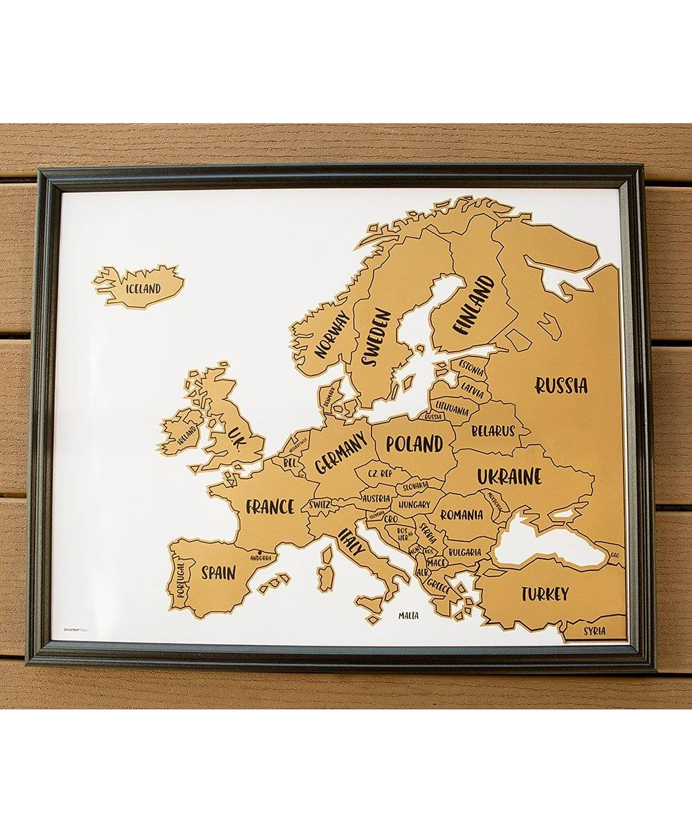 Jetsettermaps™ Scratch Your Travels Europe Map Wall Art | Zulily for Current Europe Map Wall Art