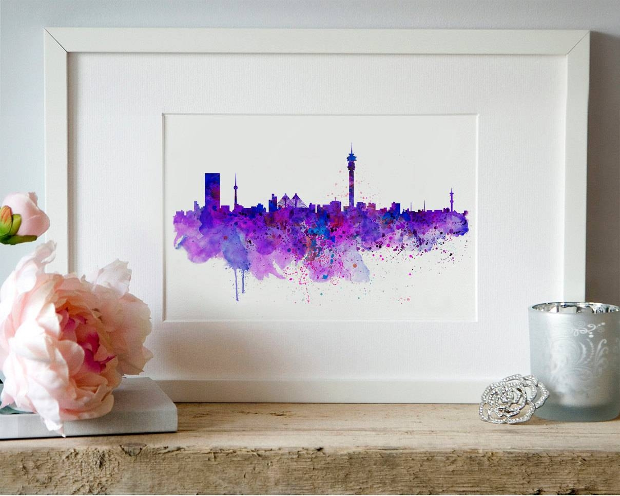 Johannesburg Skyline Watercolor Painting Wall Art Aquarelle Inside Most Popular Map Wall Art Toronto (View 4 of 20)