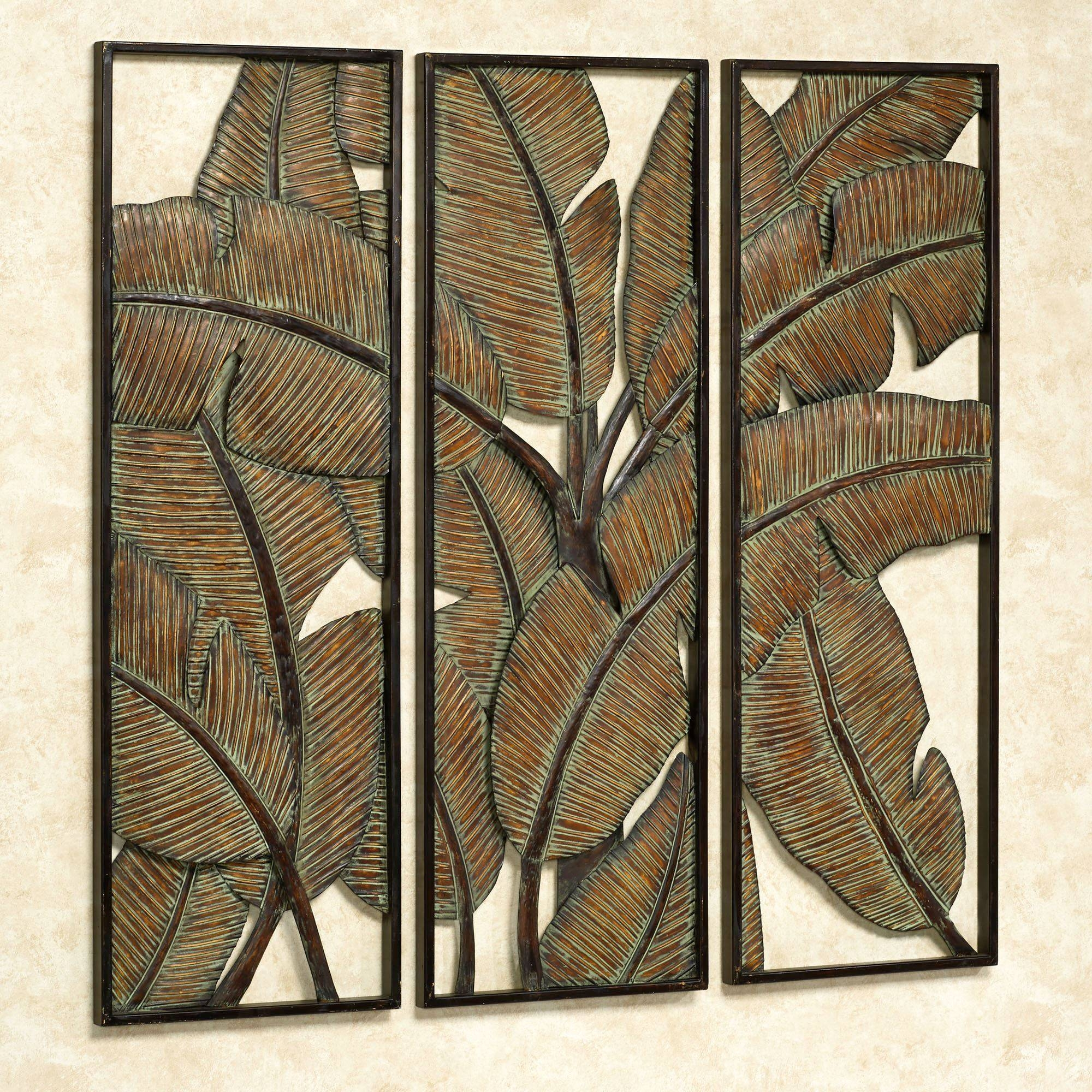 Kaylani Tropical Leaf Metal Wall Art Panel Set For Most Recently Released  Outdoor Metal Wall Art