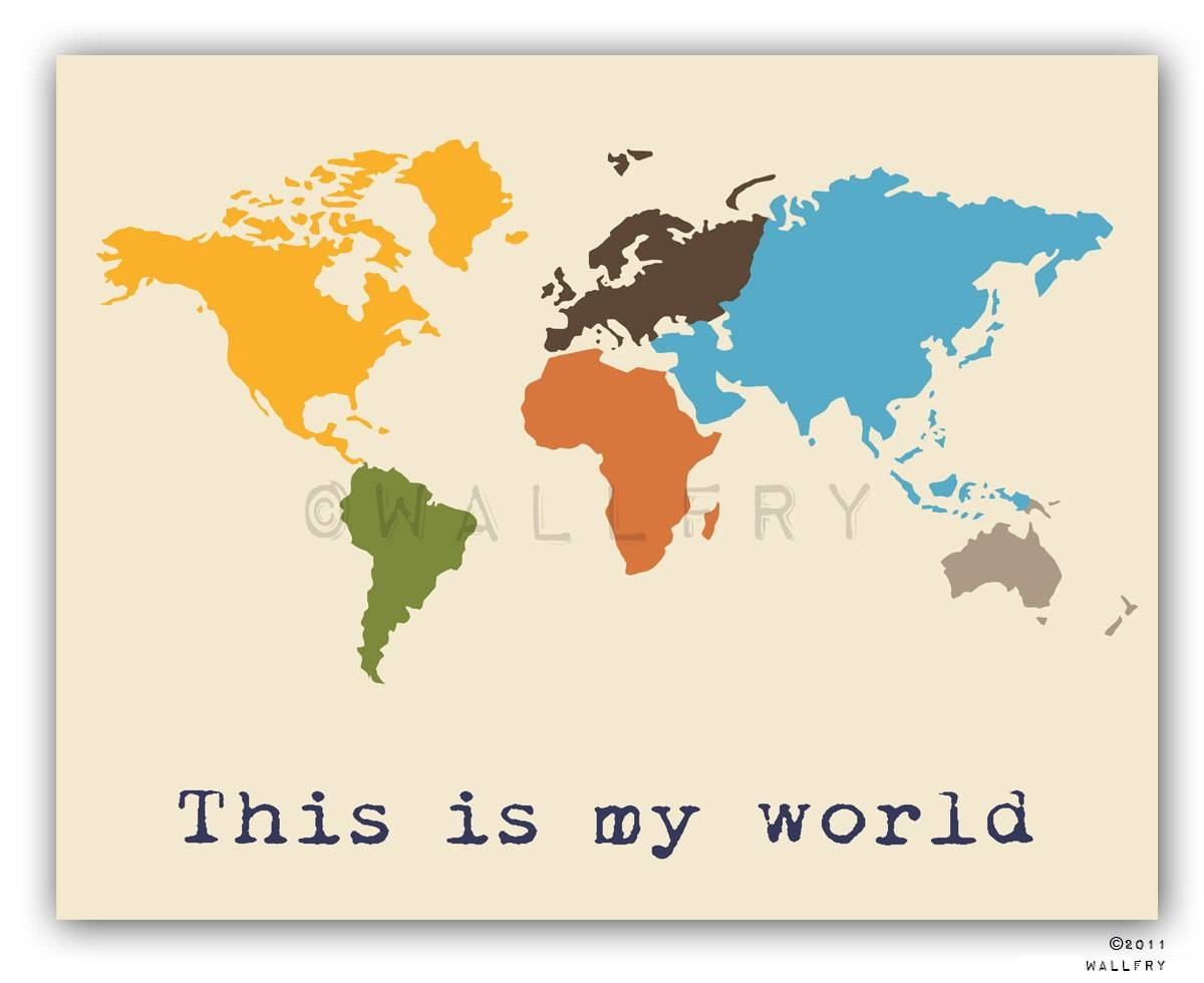 Featured Photo of Kids World Map Wall Art