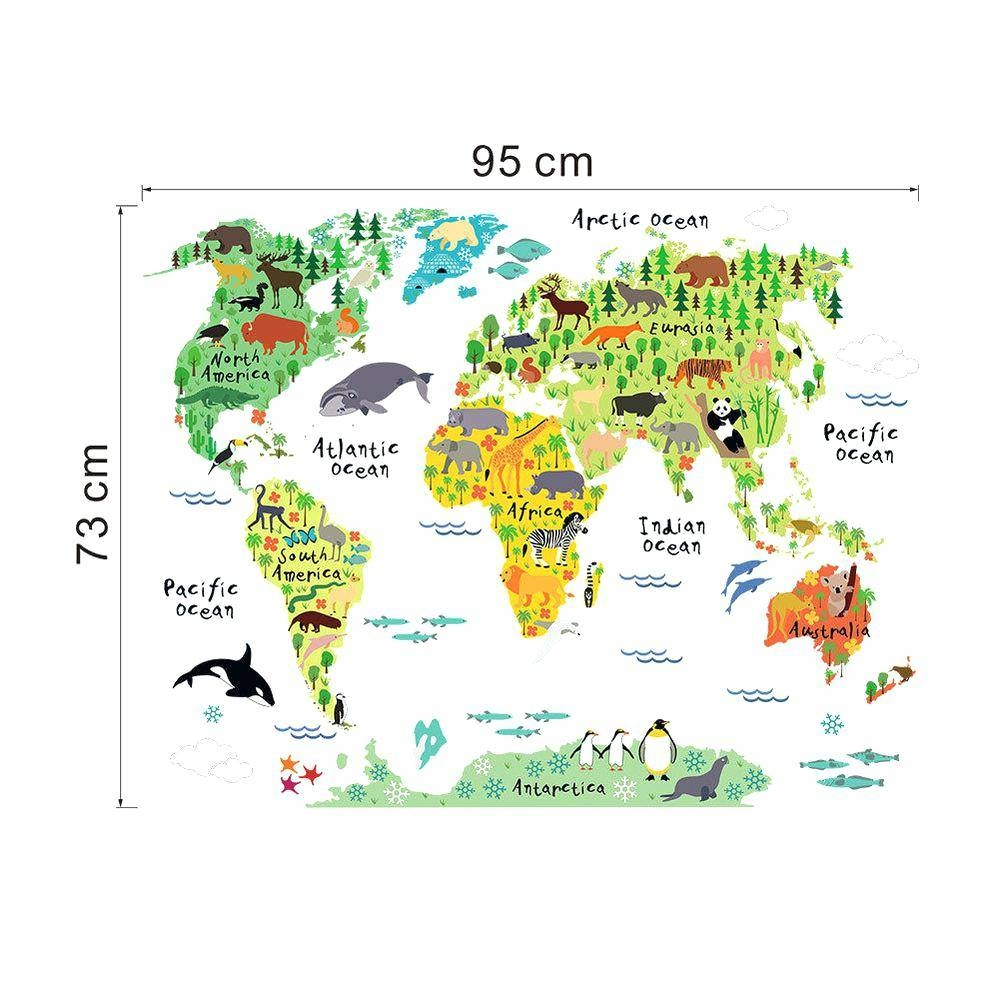 Kids World Map Wall Decal Colorful World Map Wall Sticker Decal Inside Most Recent Kids World Map Wall Art (View 19 of 20)