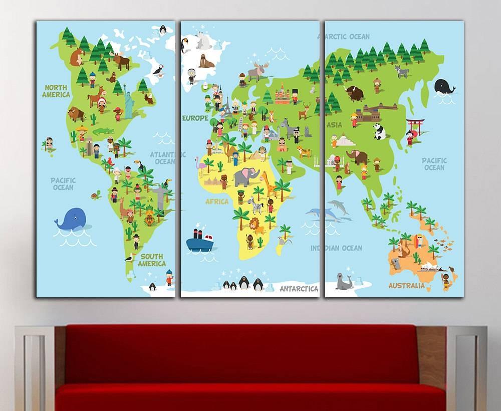 Kids World Map Wall Decor Kids World Map Wall Art Nursery Map For Current Kids World Map Wall Art (View 9 of 20)