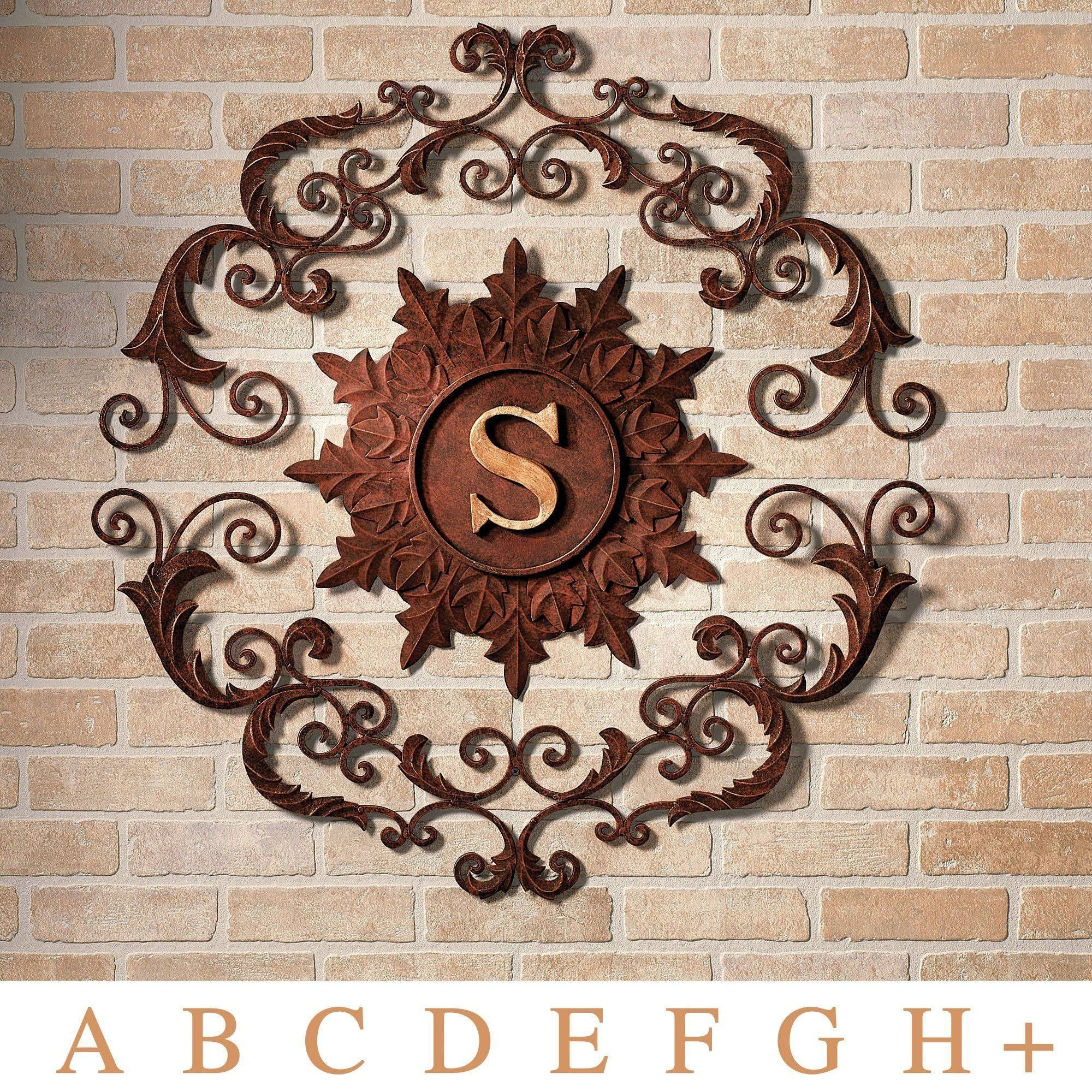 Kingston Monogram Metal Wall Grille with regard to Latest Brown Metal Wall Art