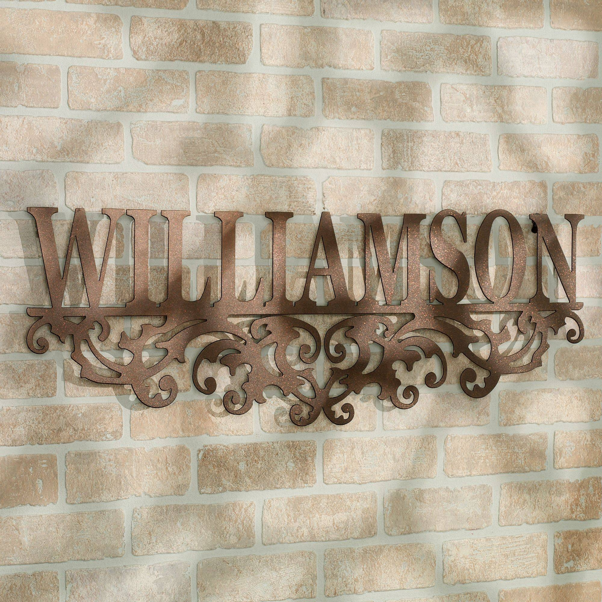 Kinship Bronze Family Name Personalized Metal Wall Art Sign Intended For Recent Personalized Metal Wall Art (Gallery 8 of 20)