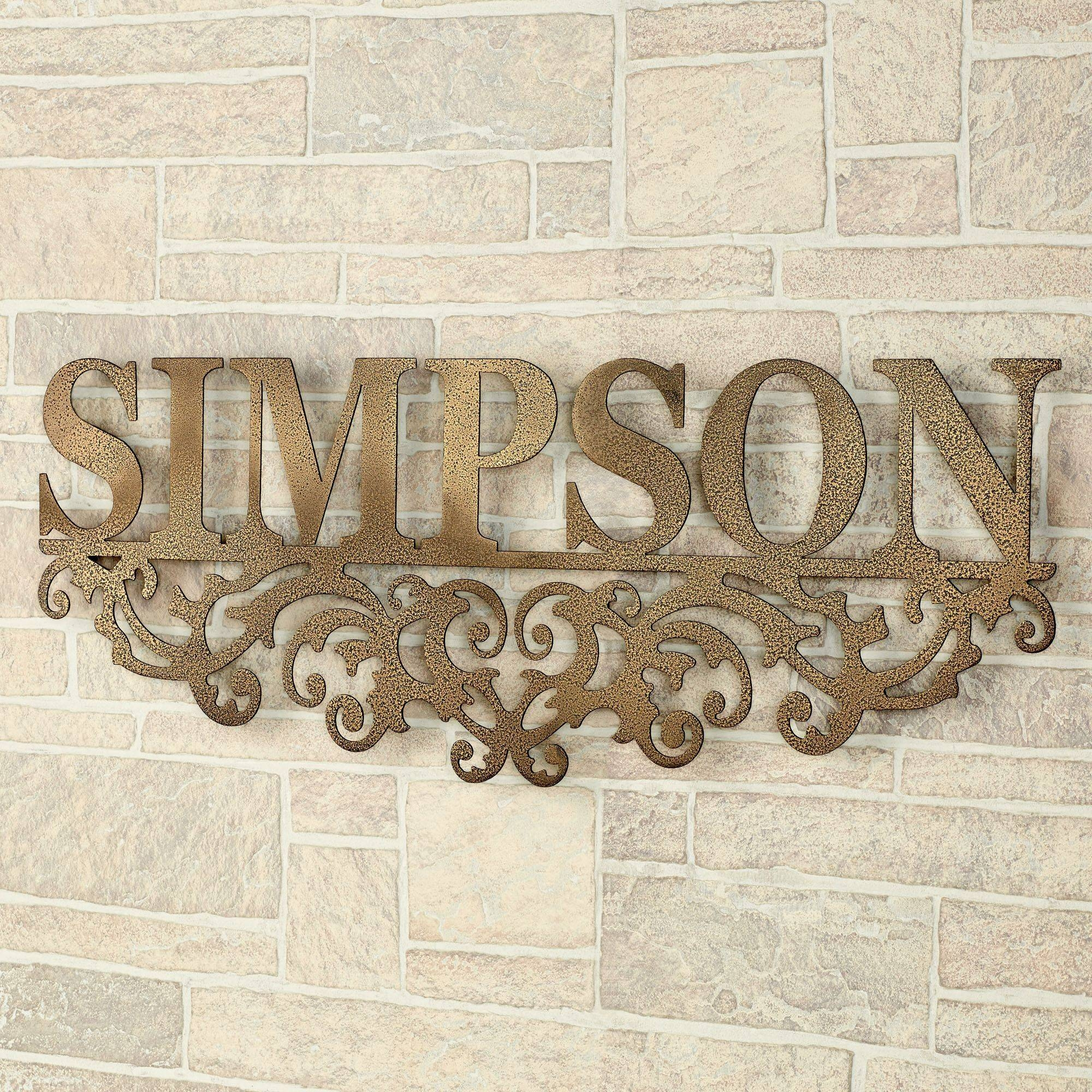 Kinship Gold Family Name Personalized Metal Wall Art Sign Inside Newest Antique Metal Wall Art (View 9 of 20)