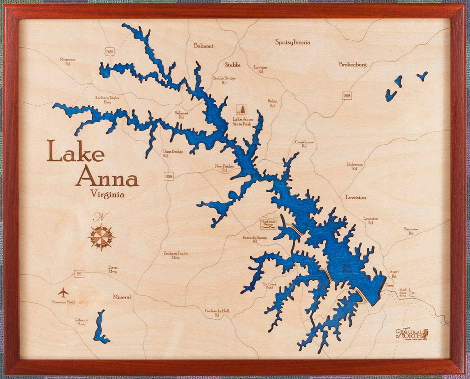 Lake Anna Virginia 16X20 3D Wall Chart Within Most Recent Lake Map Wall Art (View 10 of 20)