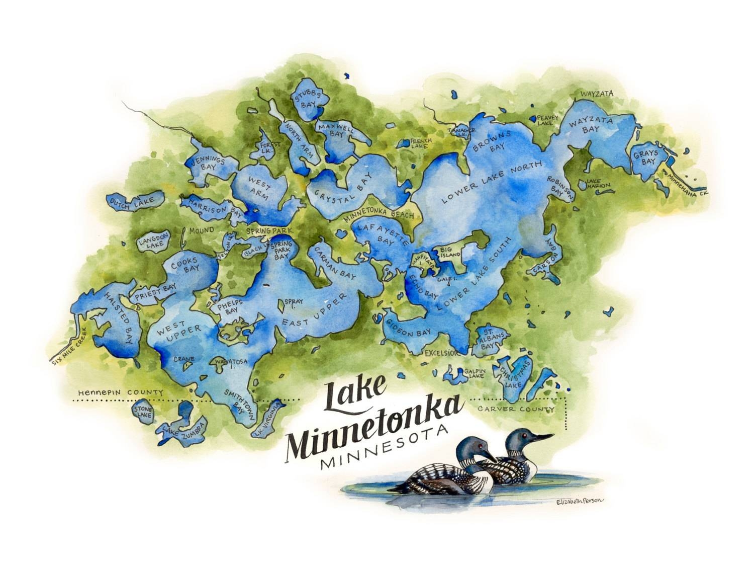Lake Minnetonka Map // Watercolor Illustration // Minnesotan Intended For Most Up To Date Lake Map Wall Art (View 7 of 20)