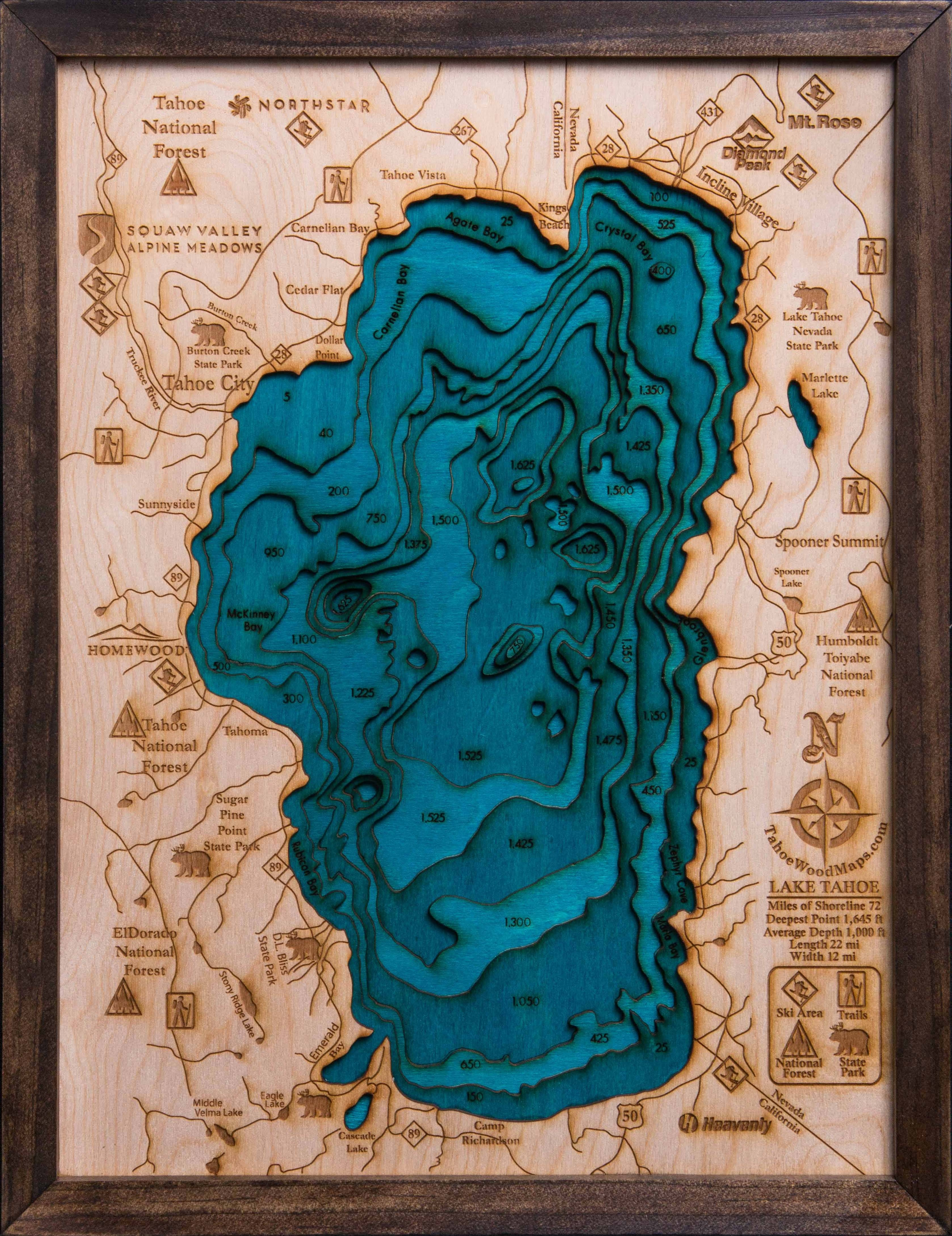 Lake Tahoe 3D Wood Map – Tahoe Wood Maps Intended For Current Lake Map Wall Art (View 11 of 20)