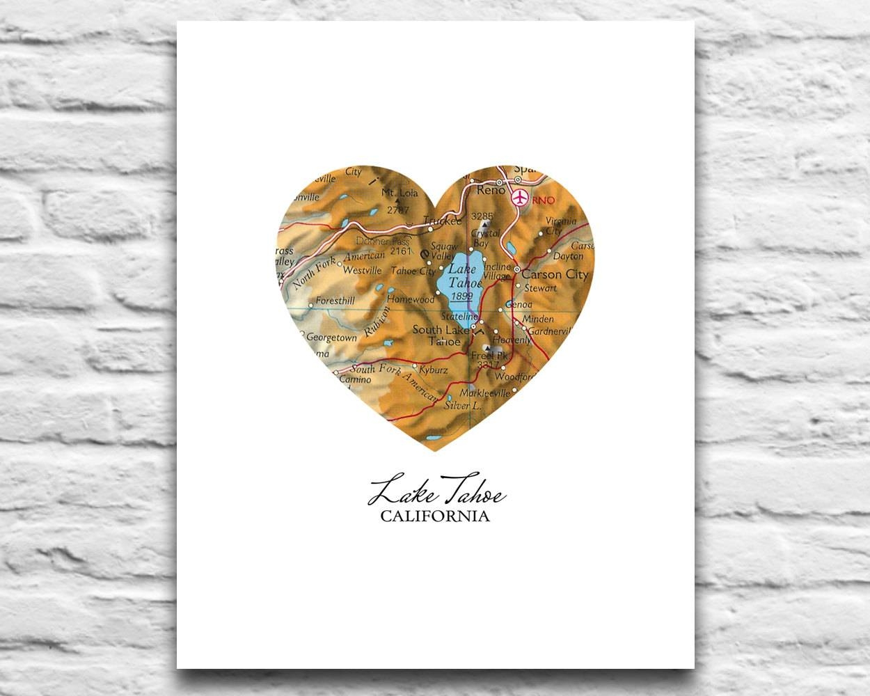 Lake Tahoe California Vintage Heart Map Digital Download For For Newest Lake Map Wall Art (View 10 of 20)