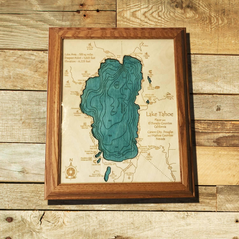 "Lake Tahoe Wood Map, Lake Tahoe Single Depth Chart, 8"" X 10"" – On Inside Recent Lake Map Wall Art (View 13 of 20)"
