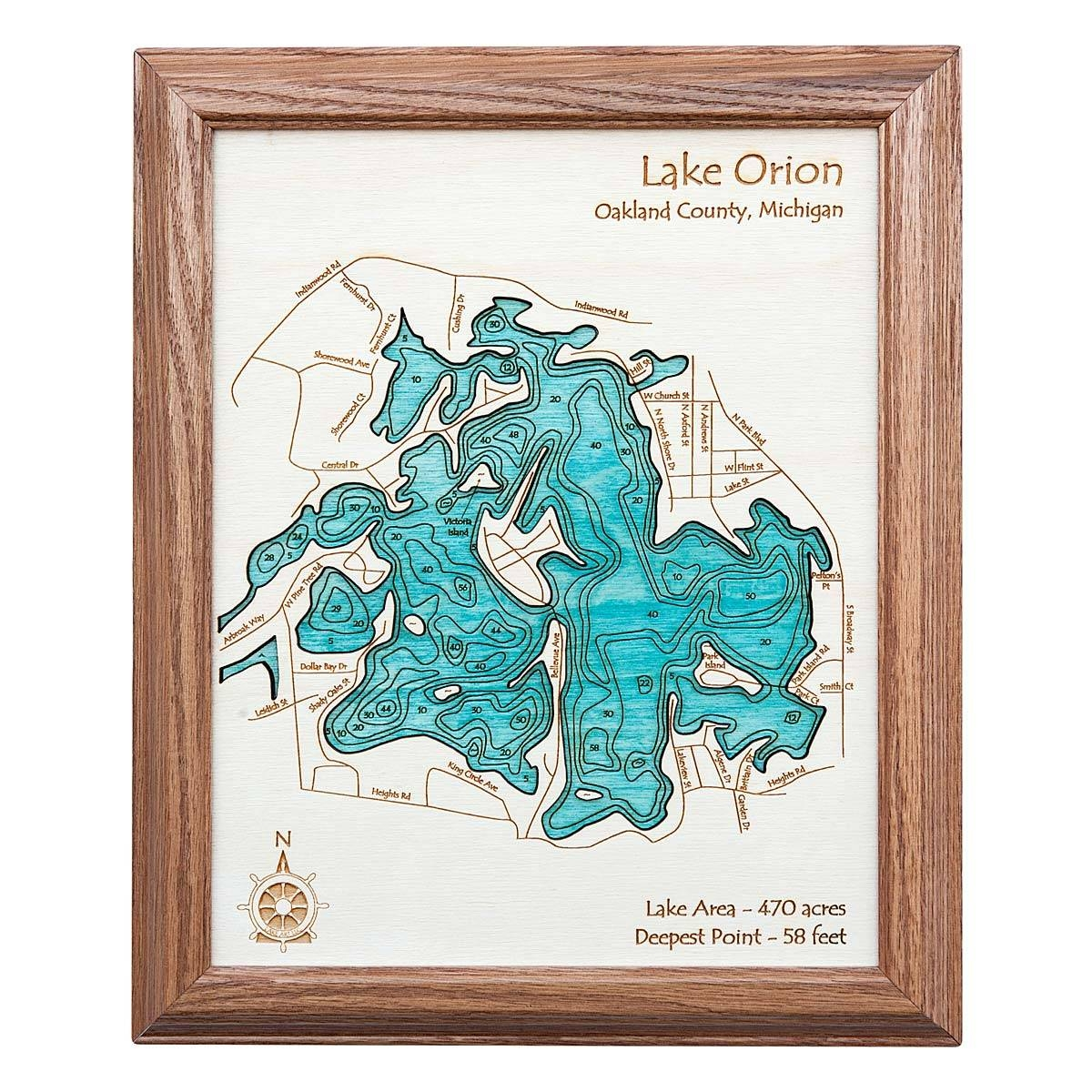 Lake Topography Art | Hand Crafted Lake Map Topography Art For Newest Lake Map Wall Art (View 12 of 20)