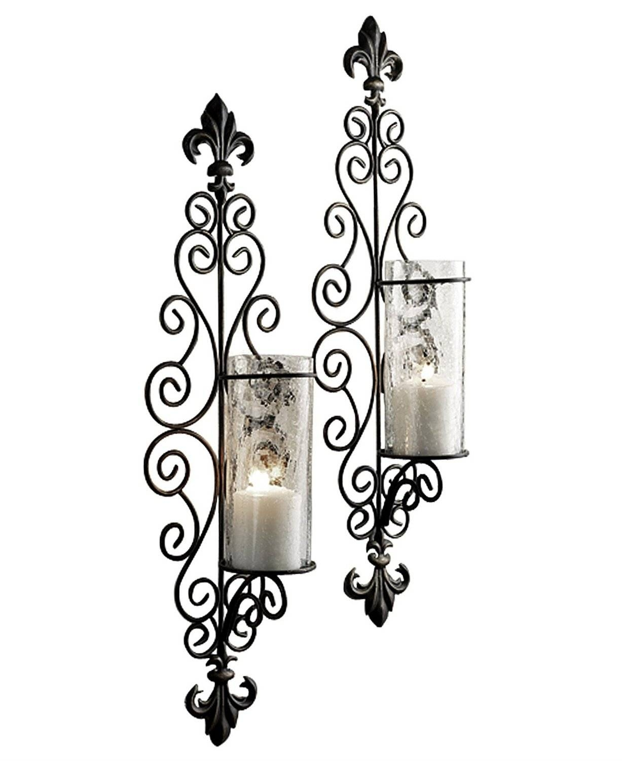 Lamp : Candlestick Holder Crystal Candle Sconces Patio Sconces Throughout 2017 Metal Wall Art Candle Holder (View 7 of 20)