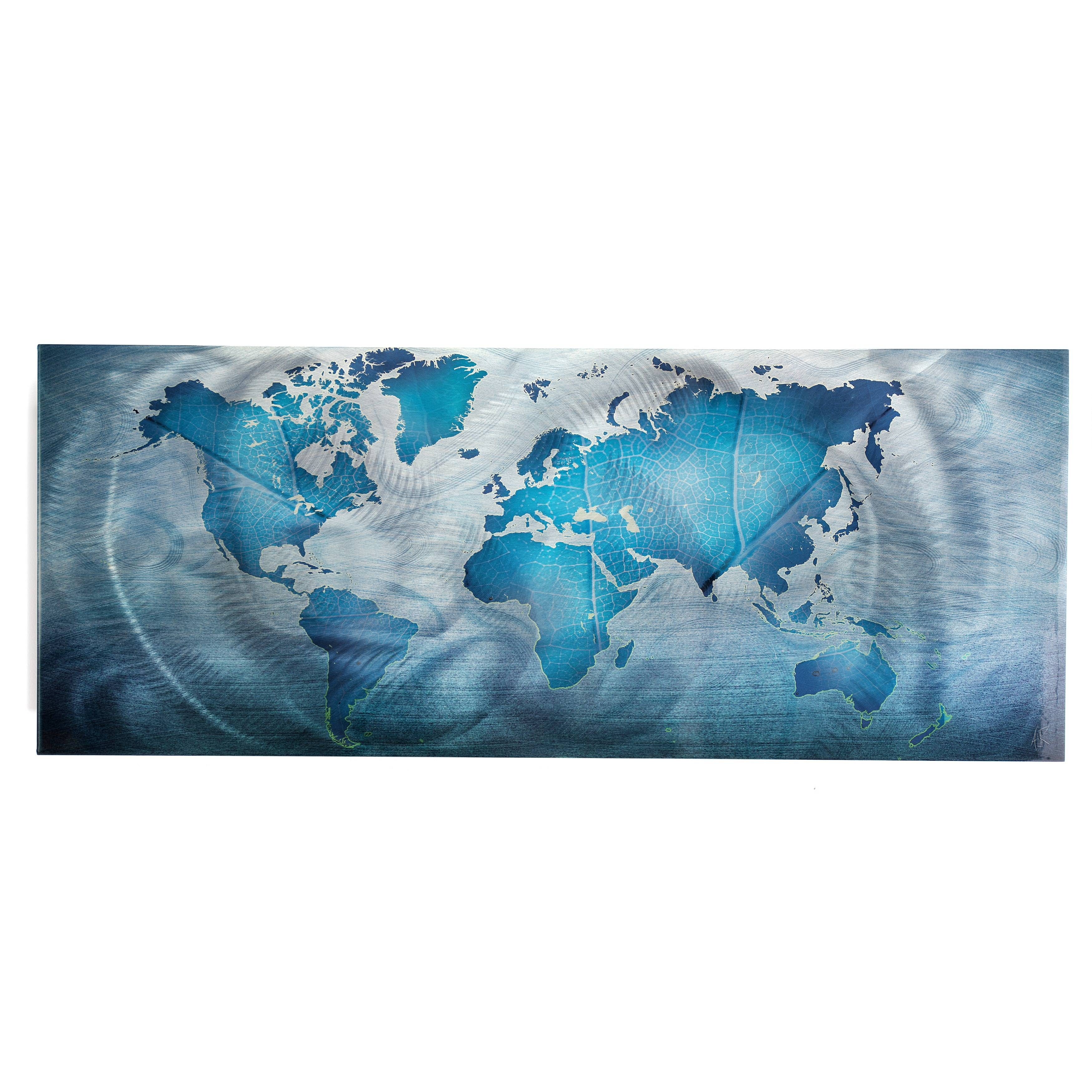 Land & Sea' Modern World Map Metal Wall Art – Free Shipping Today Intended For Most Popular Teal Metal Wall Art (View 11 of 20)