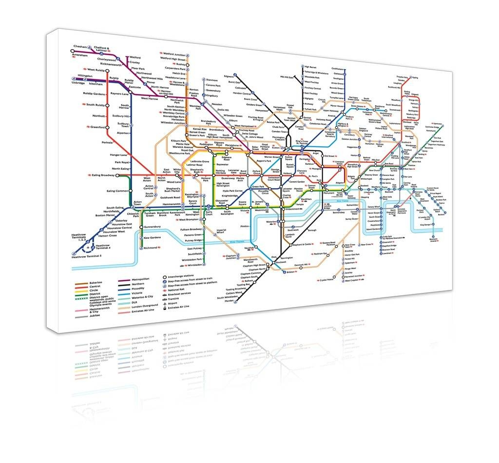 """Large 20"""" X 30"""" London Underground Map Wall Art Large Canvas For Latest London Tube Map Wall Art (View 9 of 20)"""