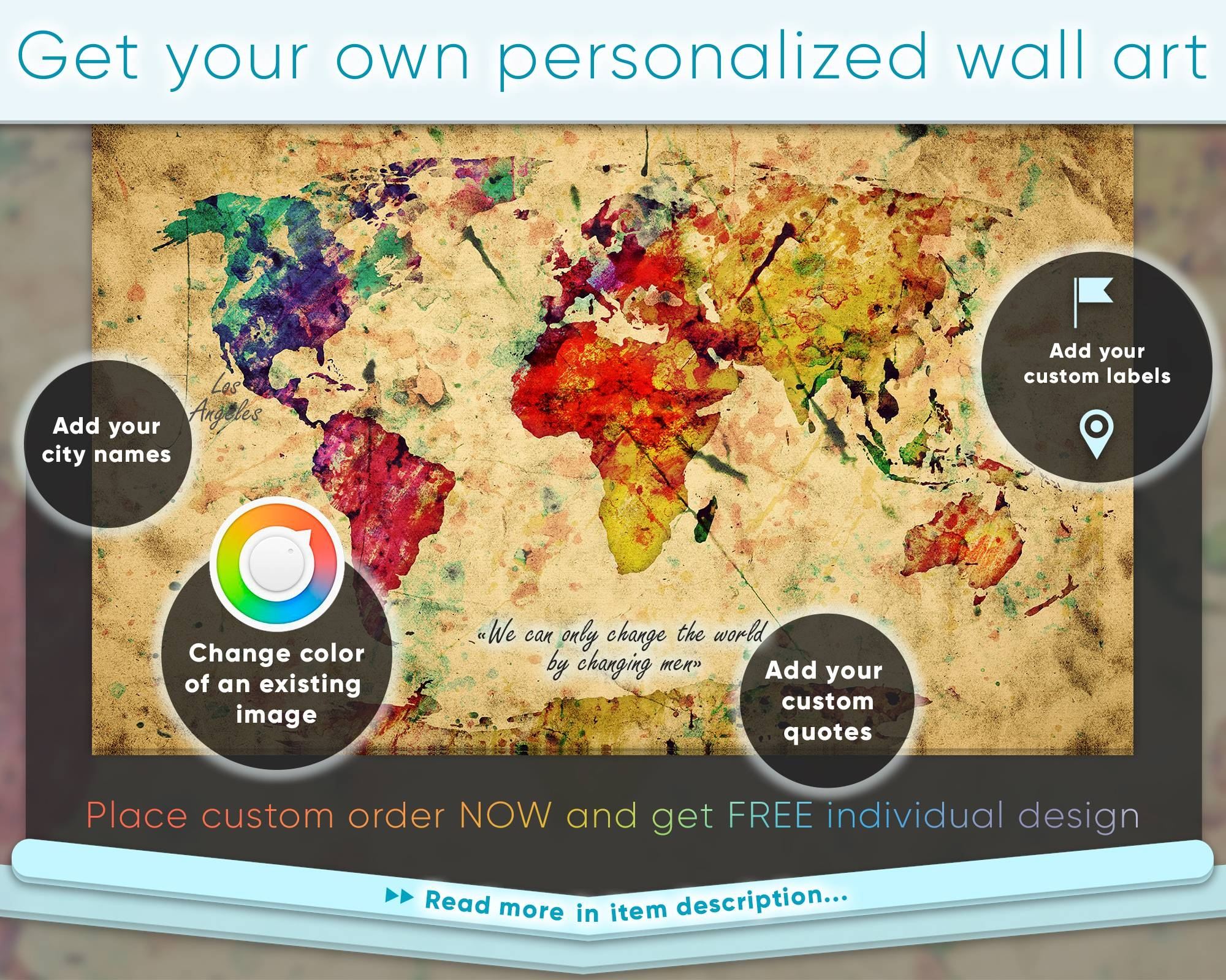 Large Colorful Vintage Watercolor World Map At Texelprintart Regarding Newest Personalized Map Wall Art (View 11 of 20)